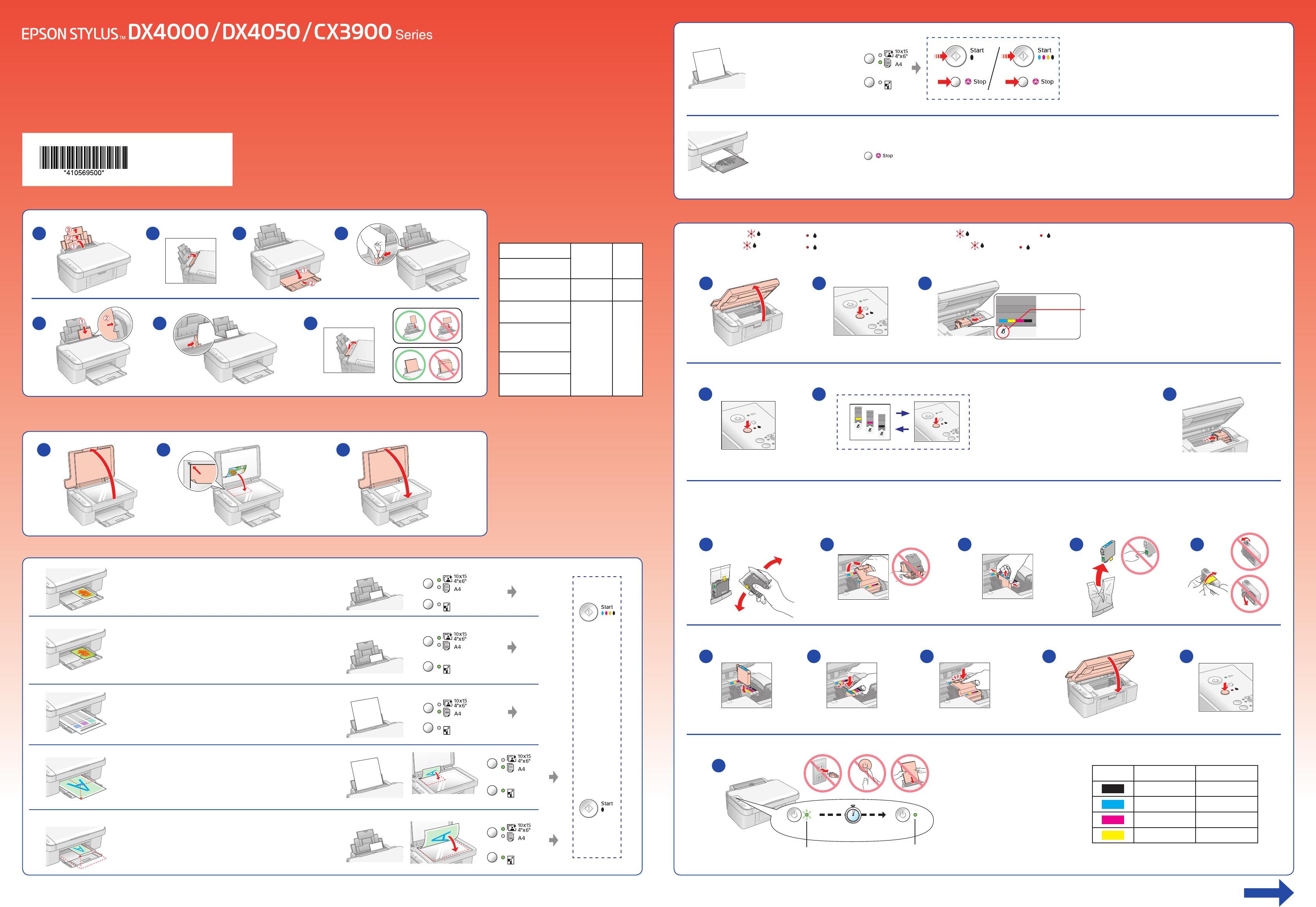 Ongebruikt Bedienungsanleitung Epson Stylus DX 4000 (Seite 1 von 2) (Holländisch) SS-62