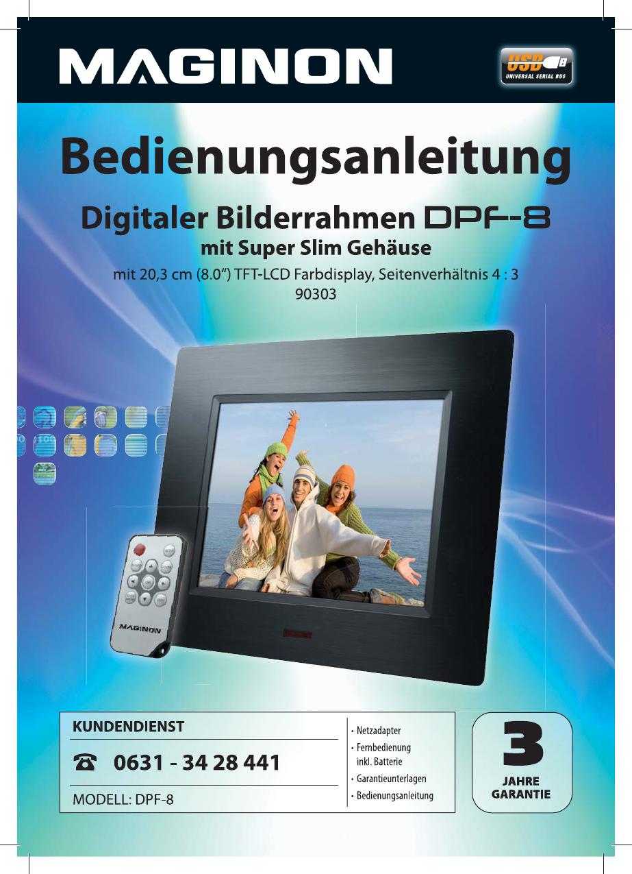 Bedienungsanleitung Maginon DPF-8 (Seite 1 von 24) (Deutsch)