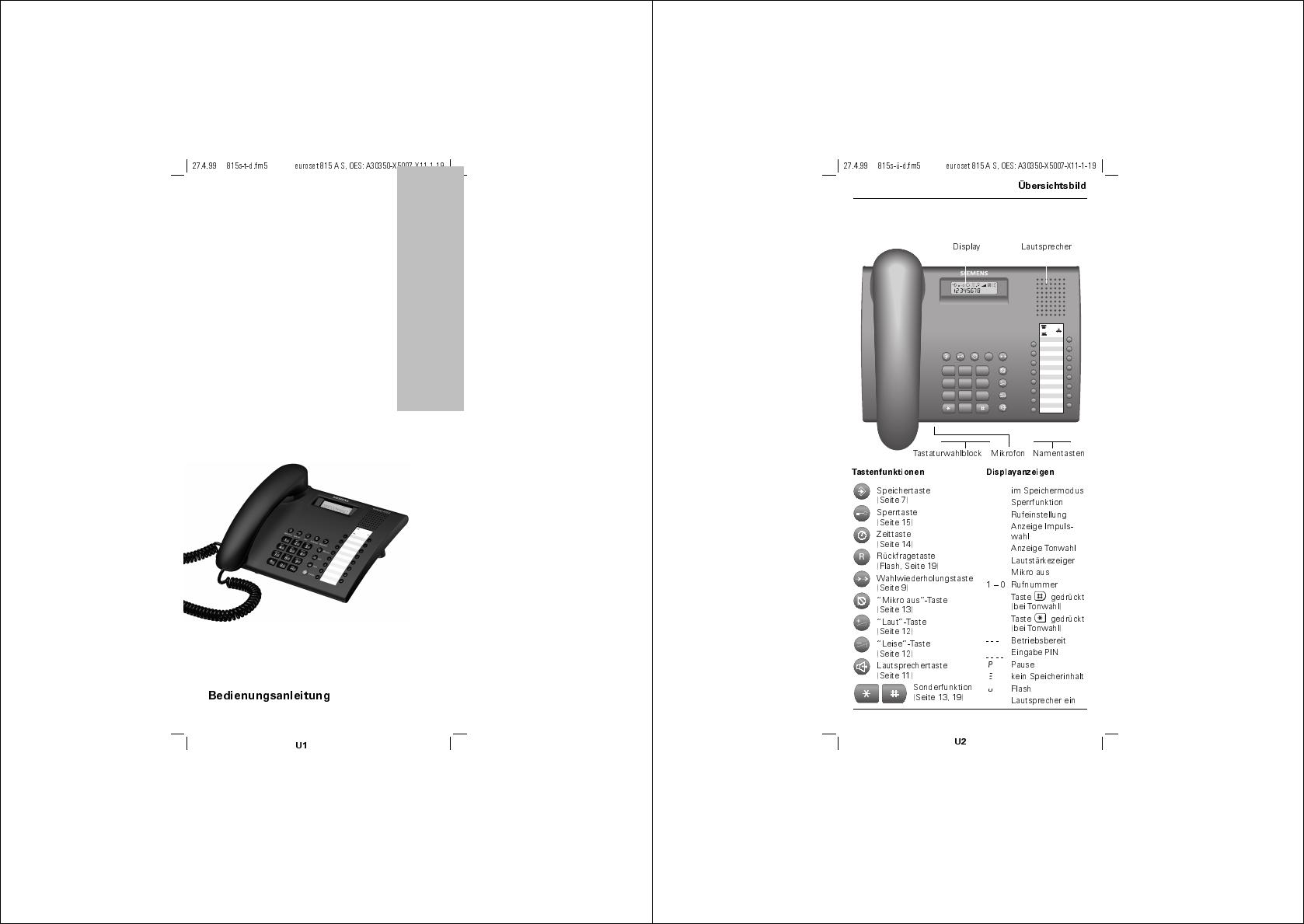 Manual de instrucciones telefono siemens euroset 5005