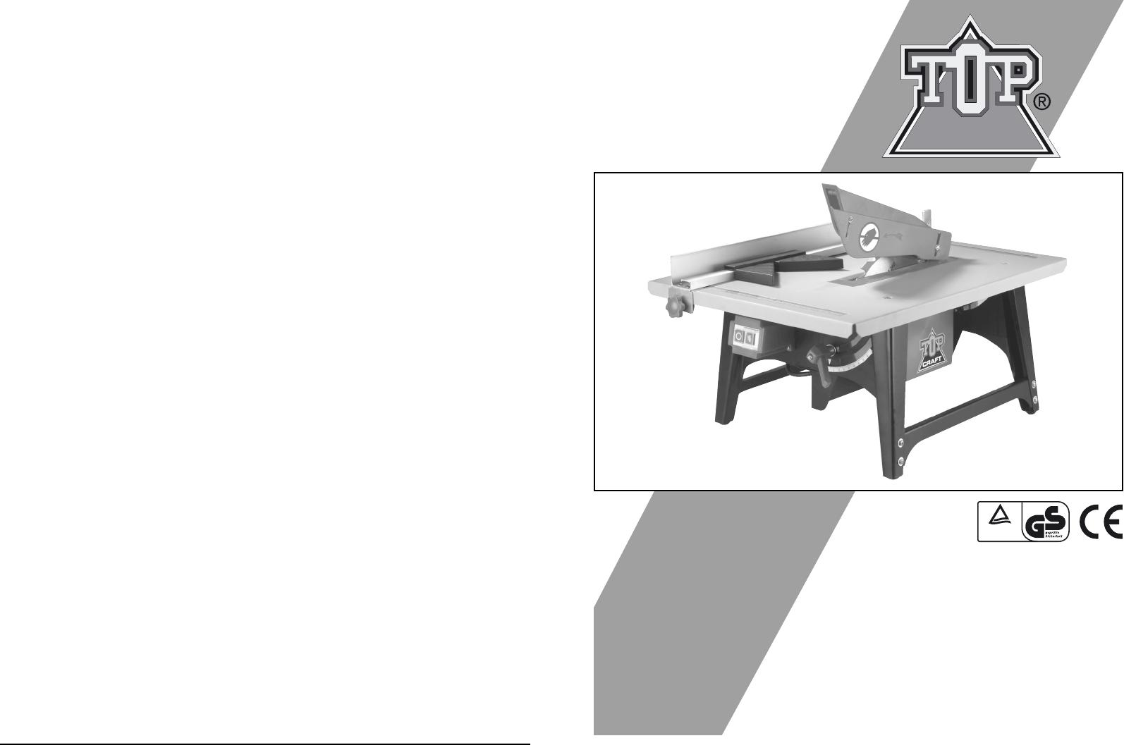 Bedienungsanleitung topcraft tbs 205 1000 tsm6008 seite - Top craft scie circulaire table ...
