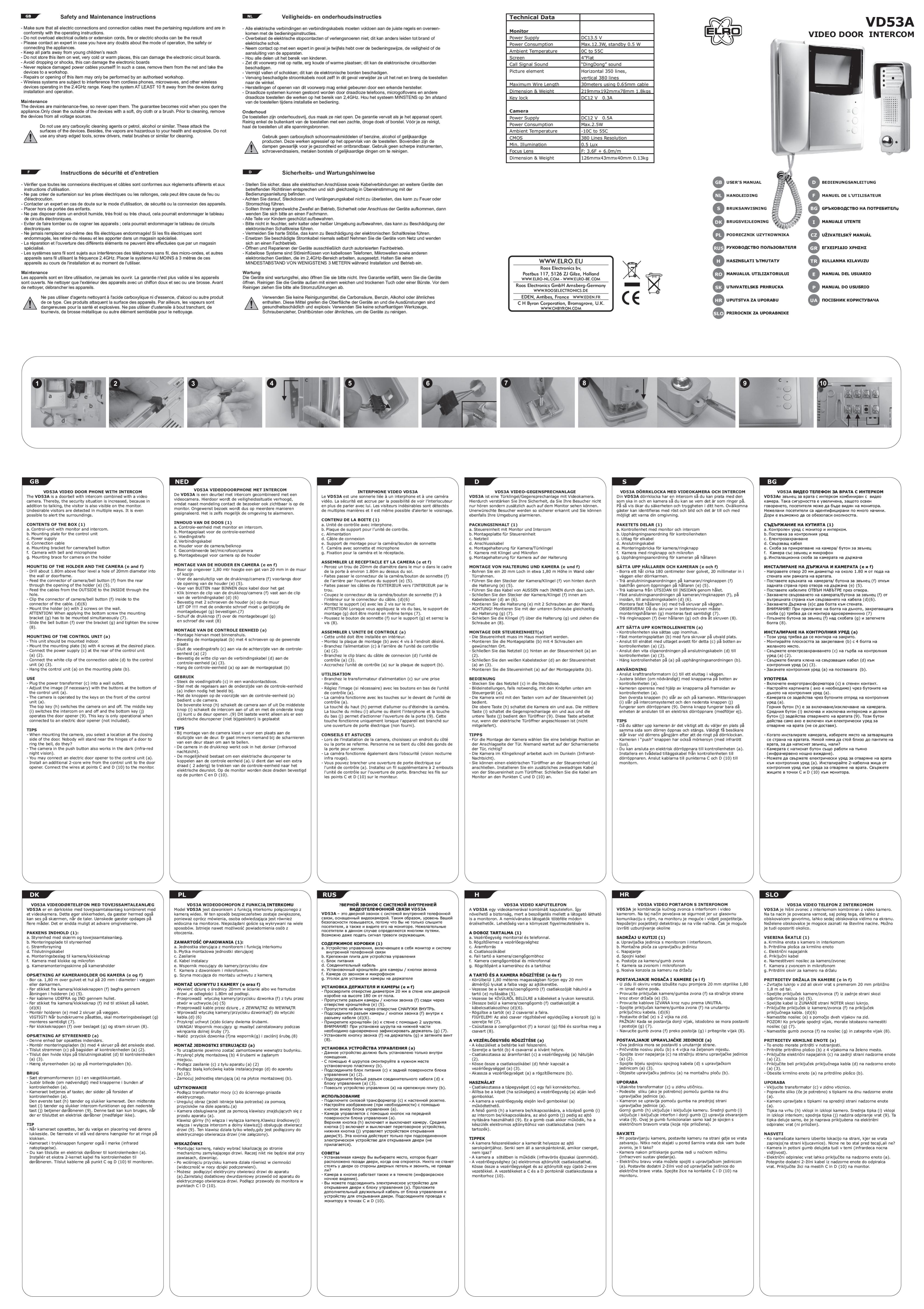 Bedienungsanleitung Elro Vd53a Seite 1 Von 2 Alle Sprachen