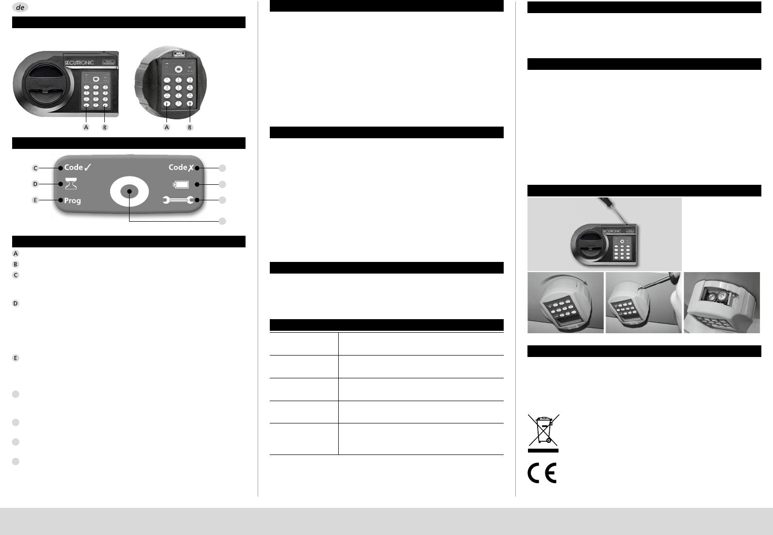 bedienungsanleitung burg wachter secutronic seite 2 von 5 deutsch englisch franz sisch. Black Bedroom Furniture Sets. Home Design Ideas