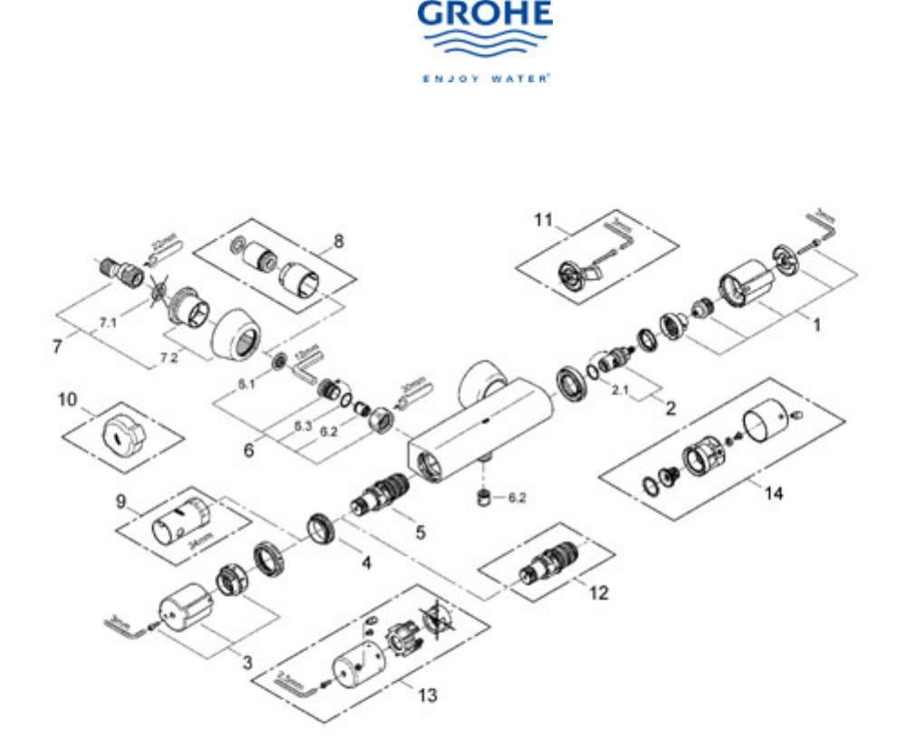 Bedienungsanleitung Grohe Grohtherm 2000 (Seite 4 von 7) (Französisch)