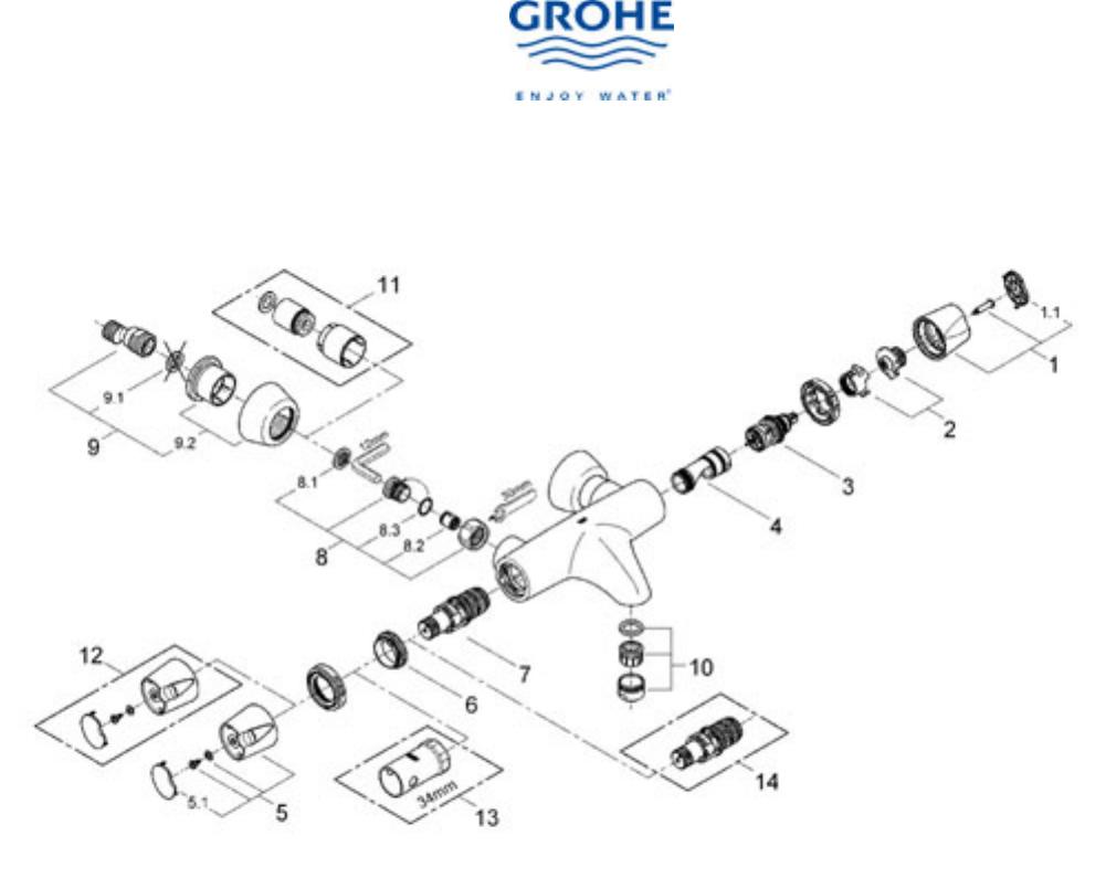 Bedienungsanleitung Grohe Grohtherm 3000 (Seite 1 von 7) (Französisch)