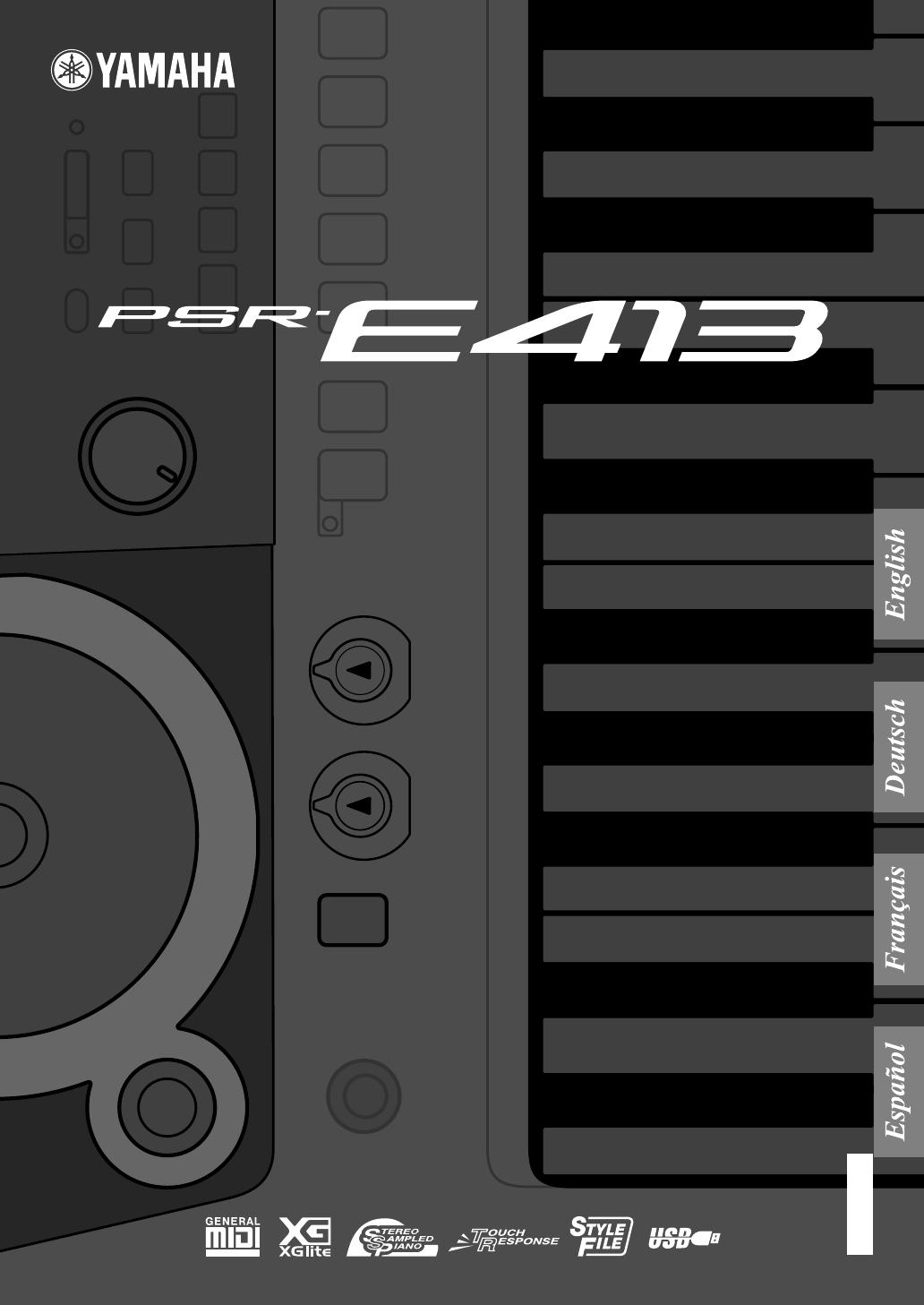 Bedienungsanleitung Yamaha PSR-E413 (Seite 1 von 134) (Deutsch)