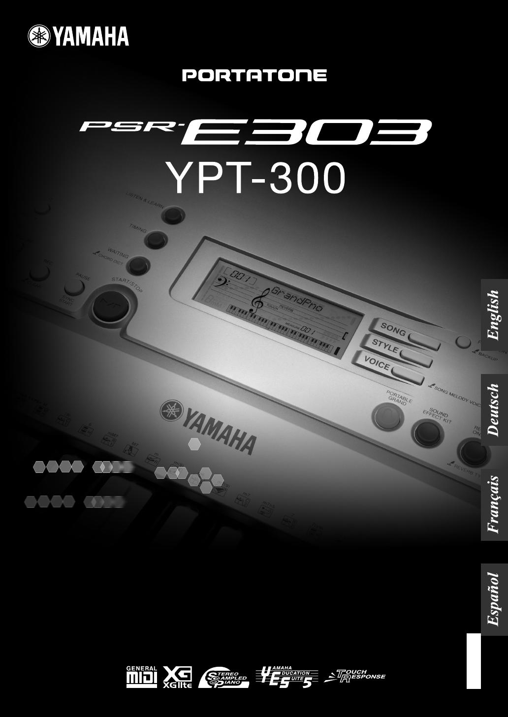 Bedienungsanleitung Yamaha PSR E303 (Seite 1 von 89) (Deutsch)