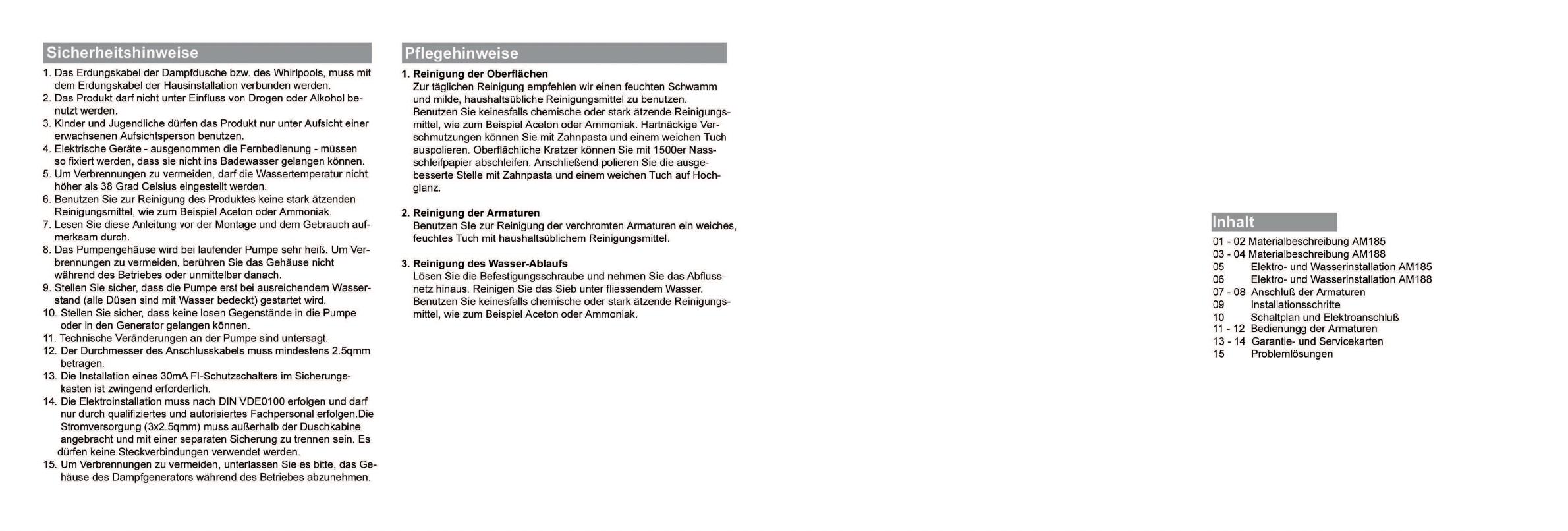 Bedienungsanleitung Eago AM185 Whirlpool (Seite 1 von 10) (Deutsch)