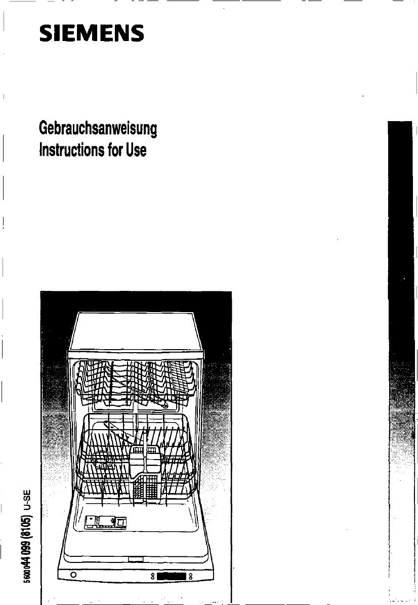 bedienungsanleitung siemens se 60590 (seite 1 von 58  ~ Geschirrspülmaschine Englisch