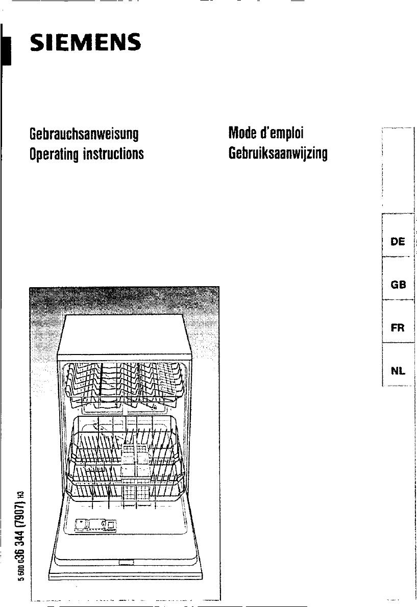 Bedienungsanleitung siemens se 53530 seite 1 von 89 for Siemens geschirrspülmaschine