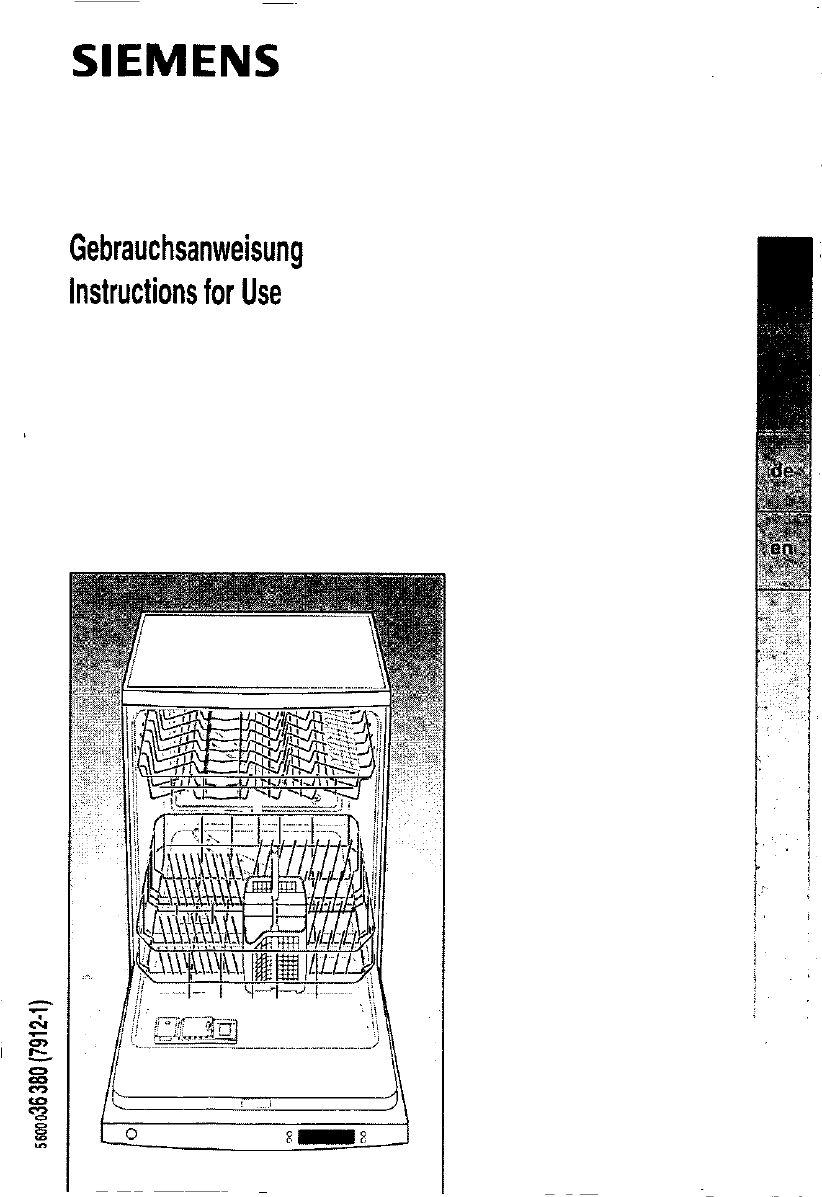 bedienungsanleitung siemens se 70890 hi sense (seite 1 von  ~ Geschirrspülmaschine Englisch