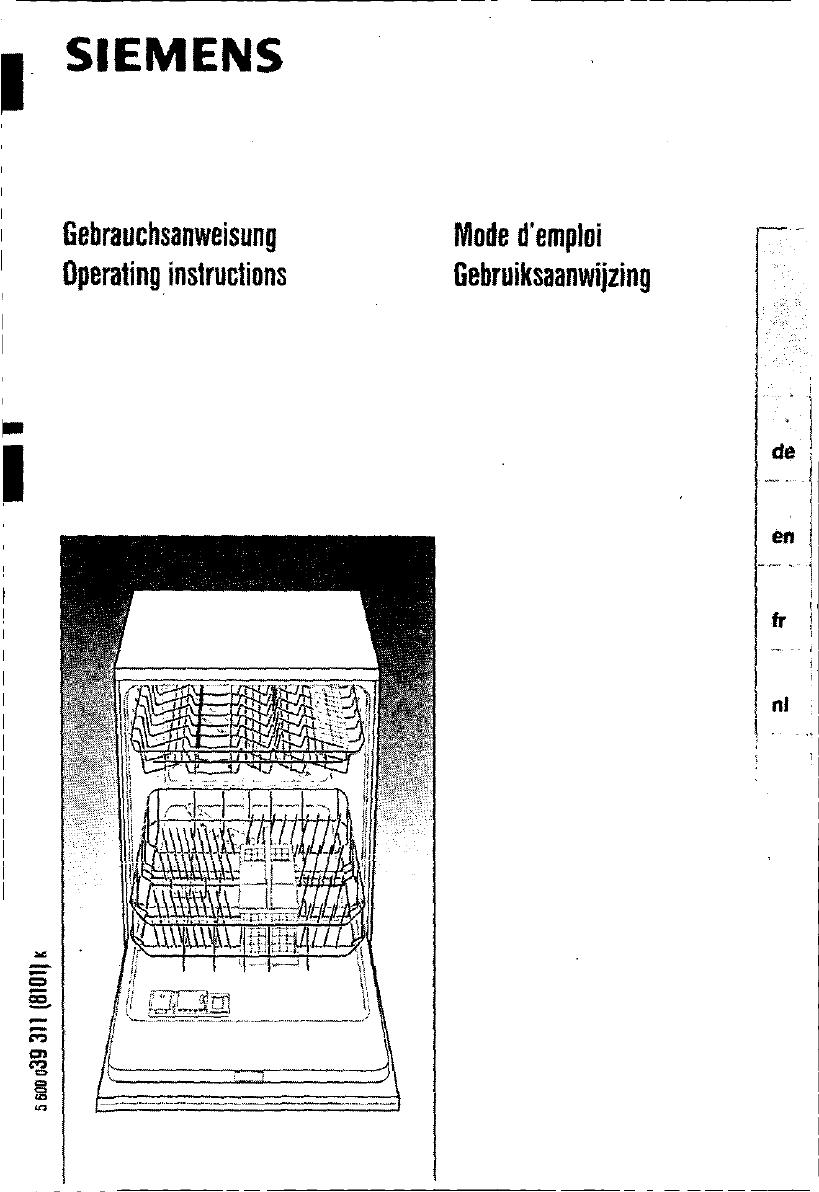 bedienungsanleitung siemens se 24930 (seite 1 von 98  ~ Geschirrspülmaschine Englisch