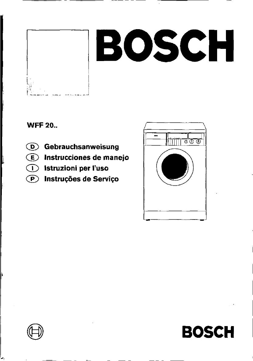 bedienungsanleitung bosch wff 2060 seite 1 von 103 deutsch spanisch italienisch portugiesisch. Black Bedroom Furniture Sets. Home Design Ideas