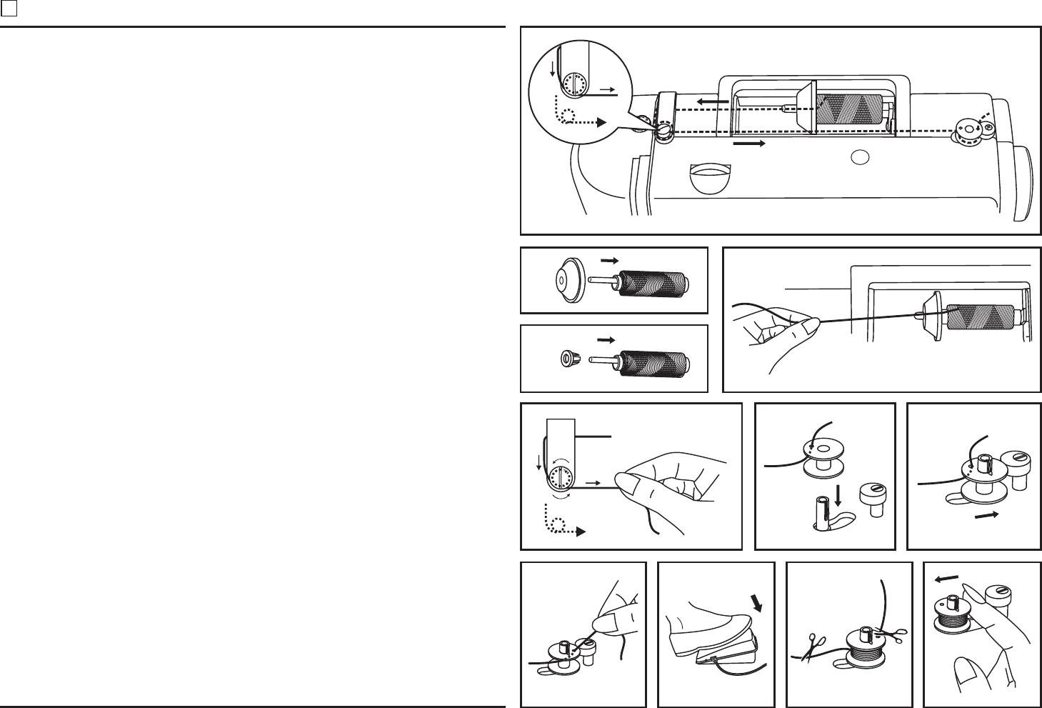 Bedienungsanleitung Singer 8280 (Seite 13 von 42) (Deutsch) ~ Nähmaschine Unterfaden Aufspulen