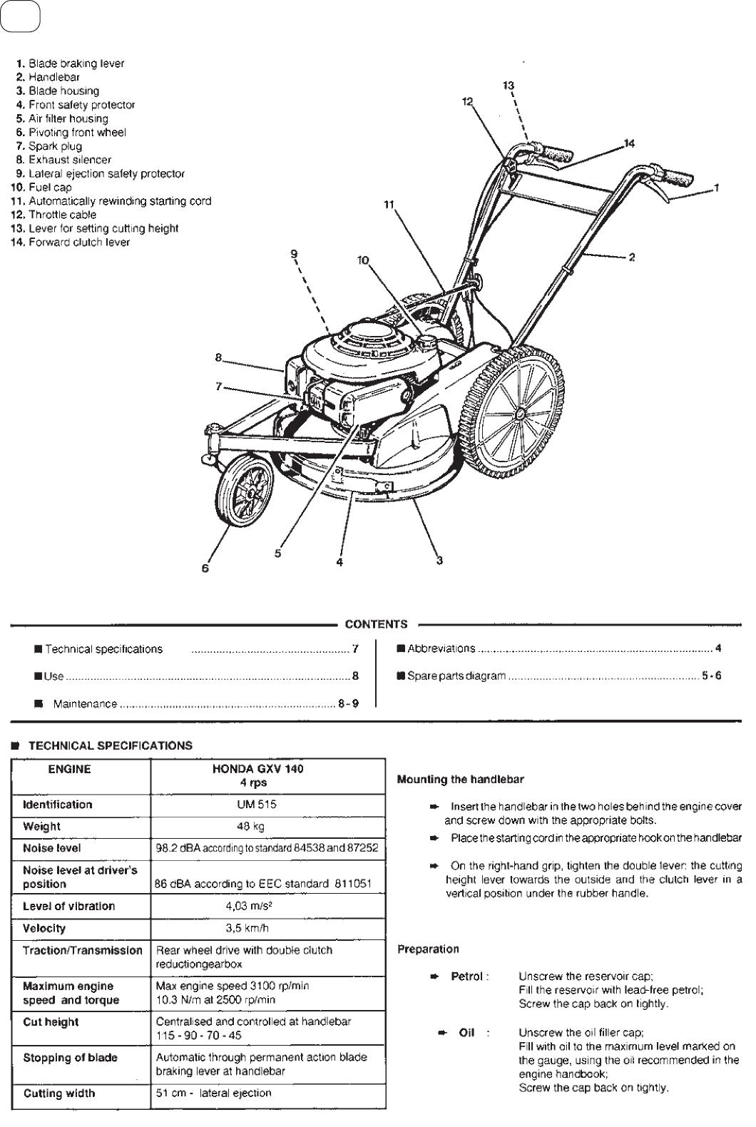 Benungsanleitung Honda UM515 (Seite 6 von 31) (Deutsch ... on