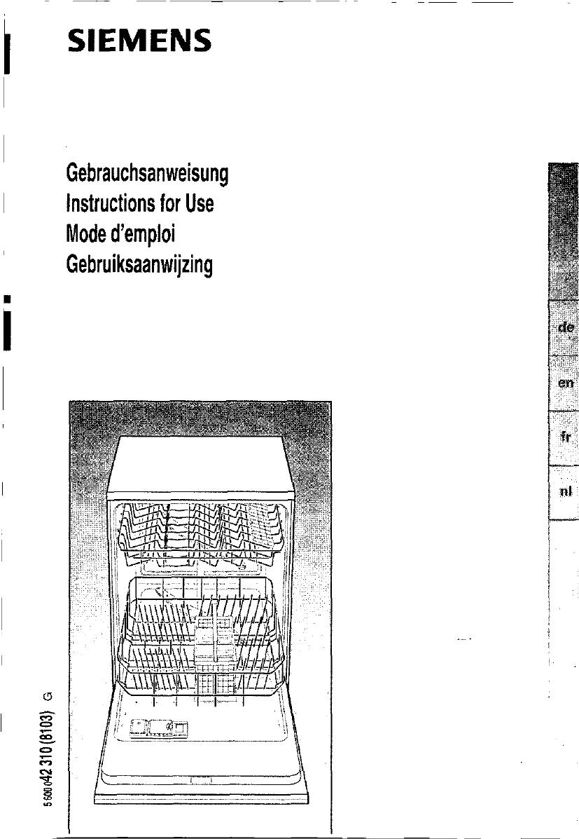 Bedienungsanleitung siemens se 34a561 seite 1 von 94 - Bosch geschirrspuler fehlercode tabelle ...
