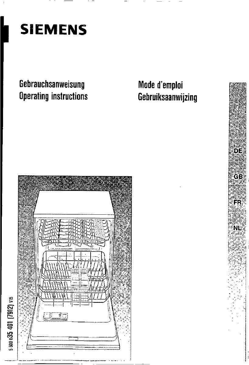 bedienungsanleitung siemens sl 65560 eu (seite 1 von 93  ~ Geschirrspülmaschine Englisch