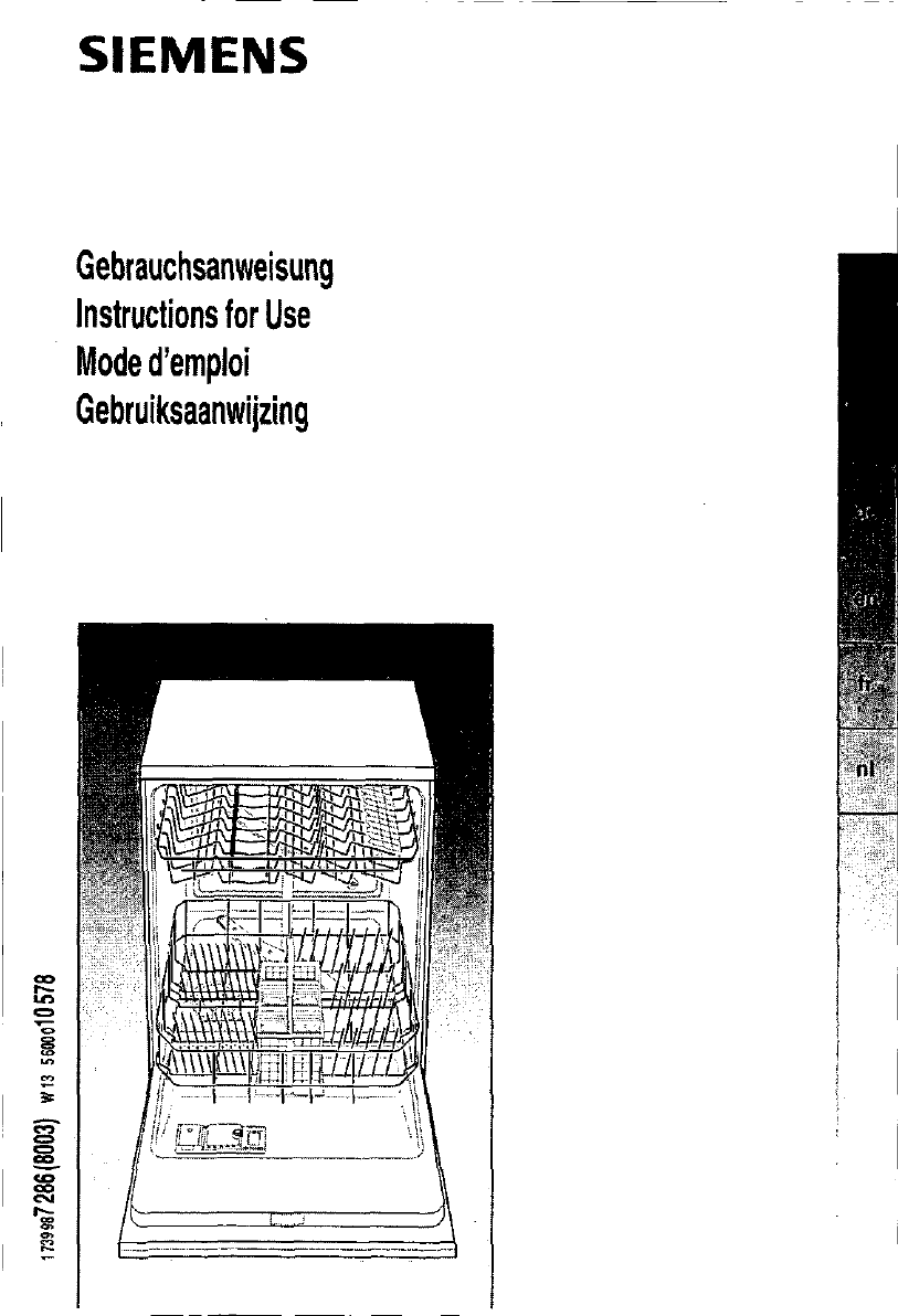 bedienungsanleitung siemens se 63630 (seite 1 von 93  ~ Geschirrspülmaschine Englisch