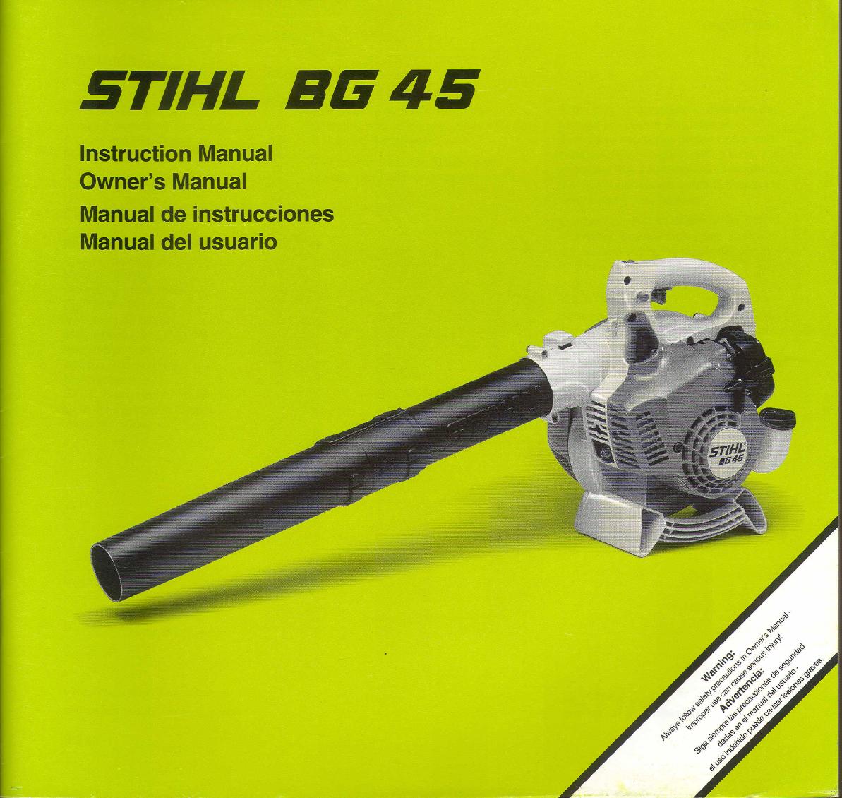 bedienungsanleitung stihl bg45 (seite 1 von 50) (englisch, spanisch)