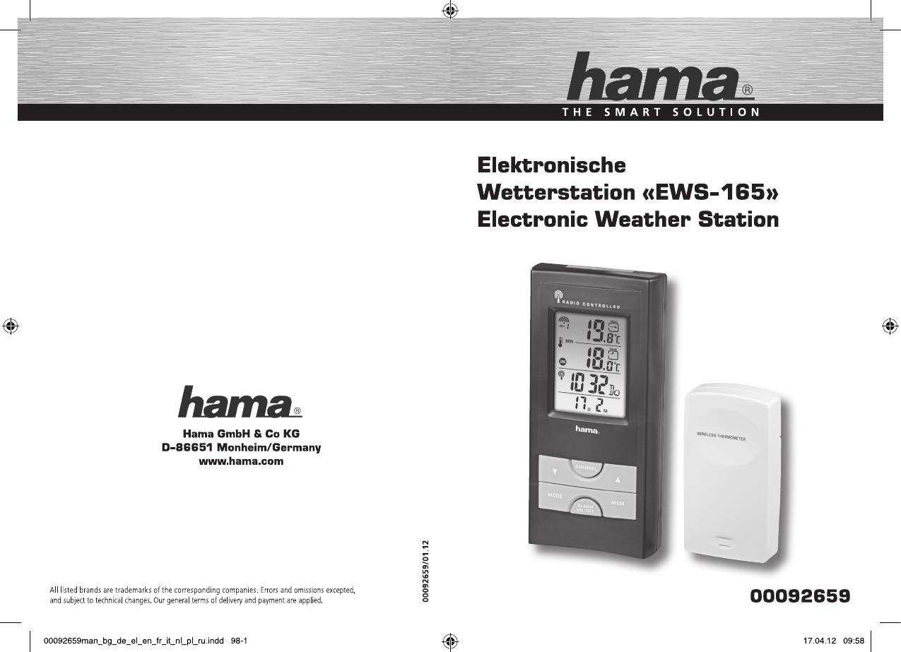 bedienungsanleitung hama ews 165 92659 seite 1 von 24 deutsch englisch franz sisch. Black Bedroom Furniture Sets. Home Design Ideas