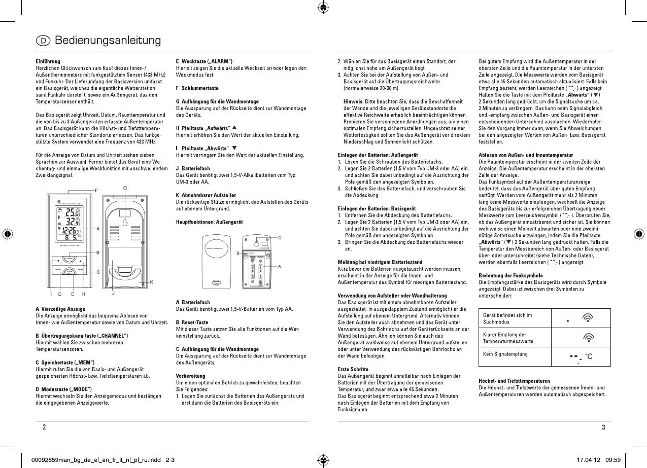 bedienungsanleitung hama ews 165 92659 seite 2 von 24 deutsch englisch franz sisch. Black Bedroom Furniture Sets. Home Design Ideas