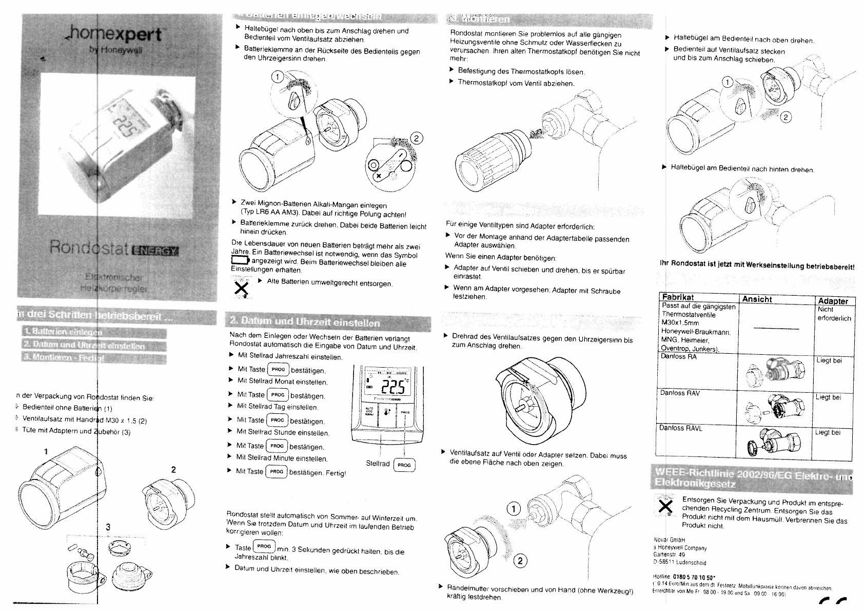 bedienungsanleitung homexpert by honeywell hr25bg rondostat energy seite 1 von 2 deutsch. Black Bedroom Furniture Sets. Home Design Ideas
