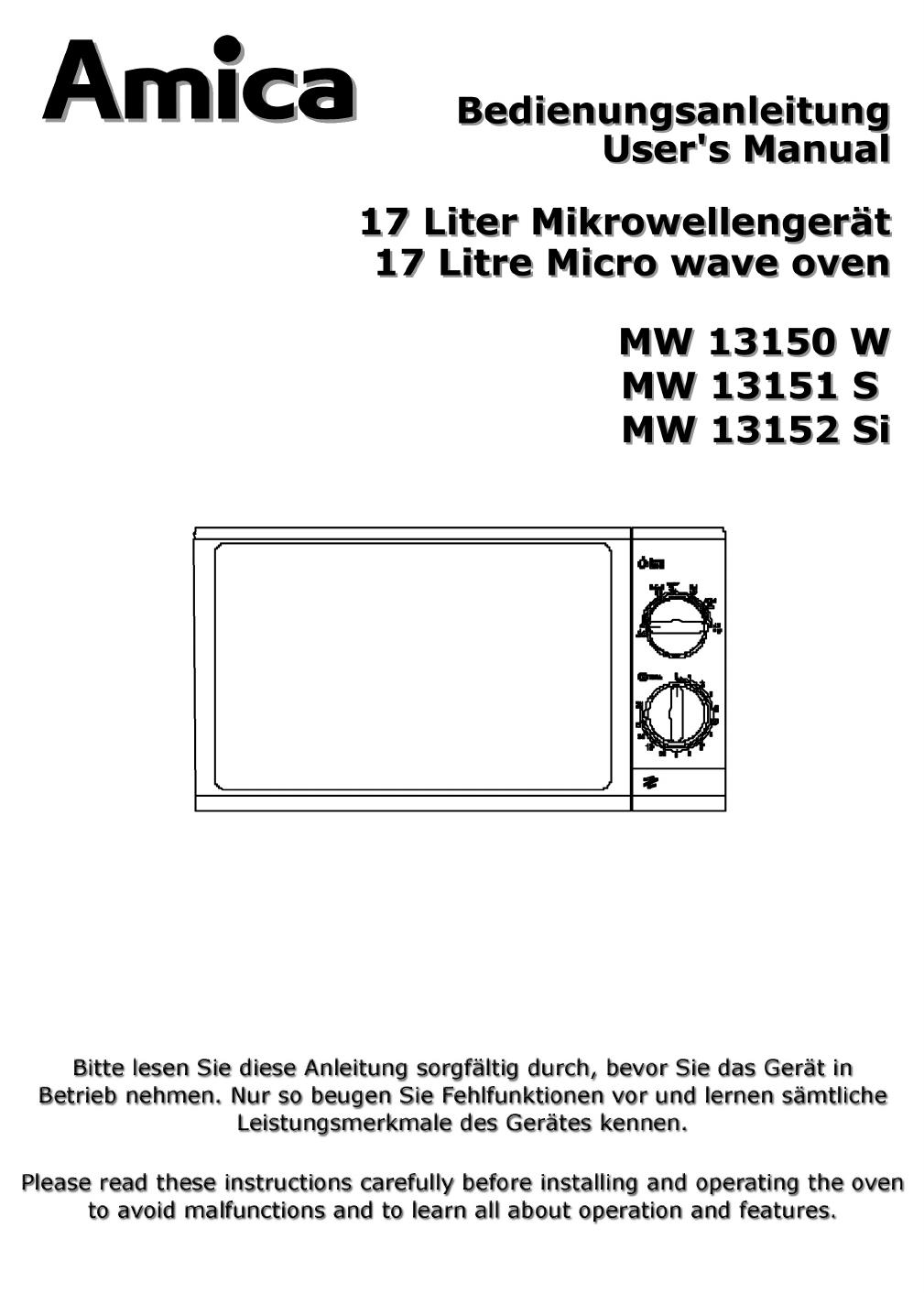 bedienungsanleitung amica mw 13152 seite 1 von 24 deutsch englisch. Black Bedroom Furniture Sets. Home Design Ideas
