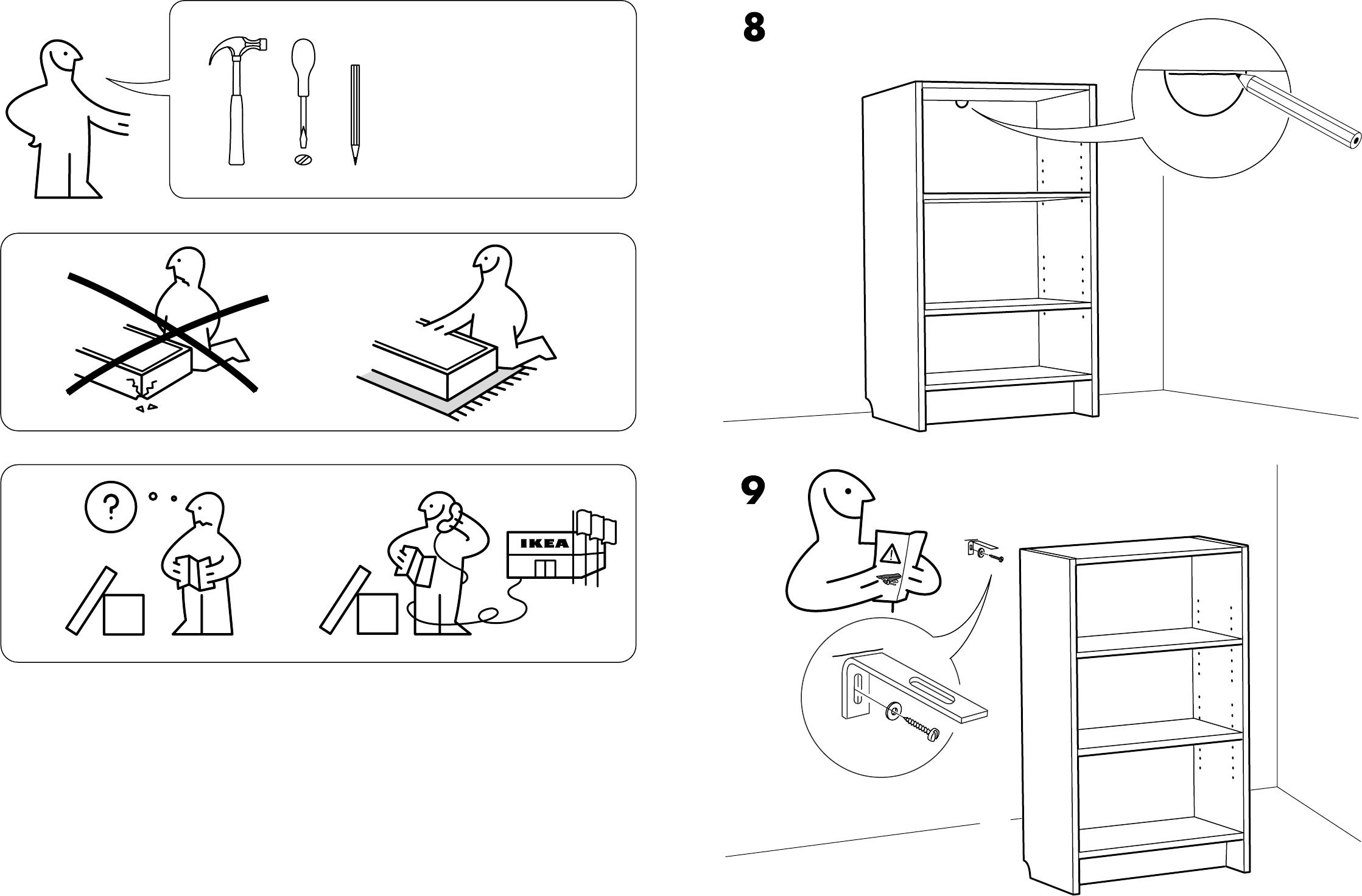 Bedienungsanleitung Ikea Billy boekenkast (Seite 3 von 4) (Dänisch ...