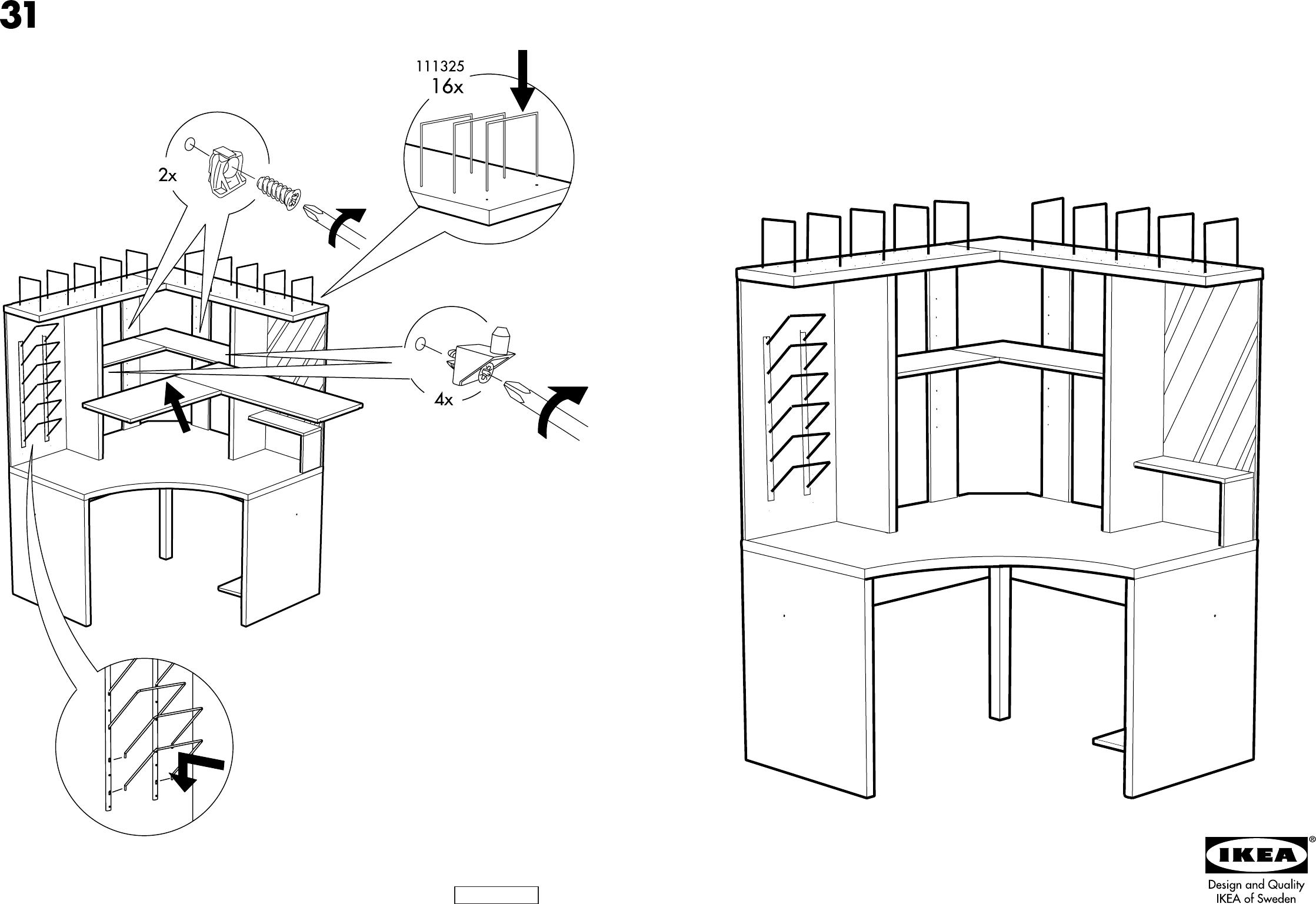 bedienungsanleitung ikea mikael hoekburo seite 1 von 10 d nisch deutsch englisch spanisch. Black Bedroom Furniture Sets. Home Design Ideas
