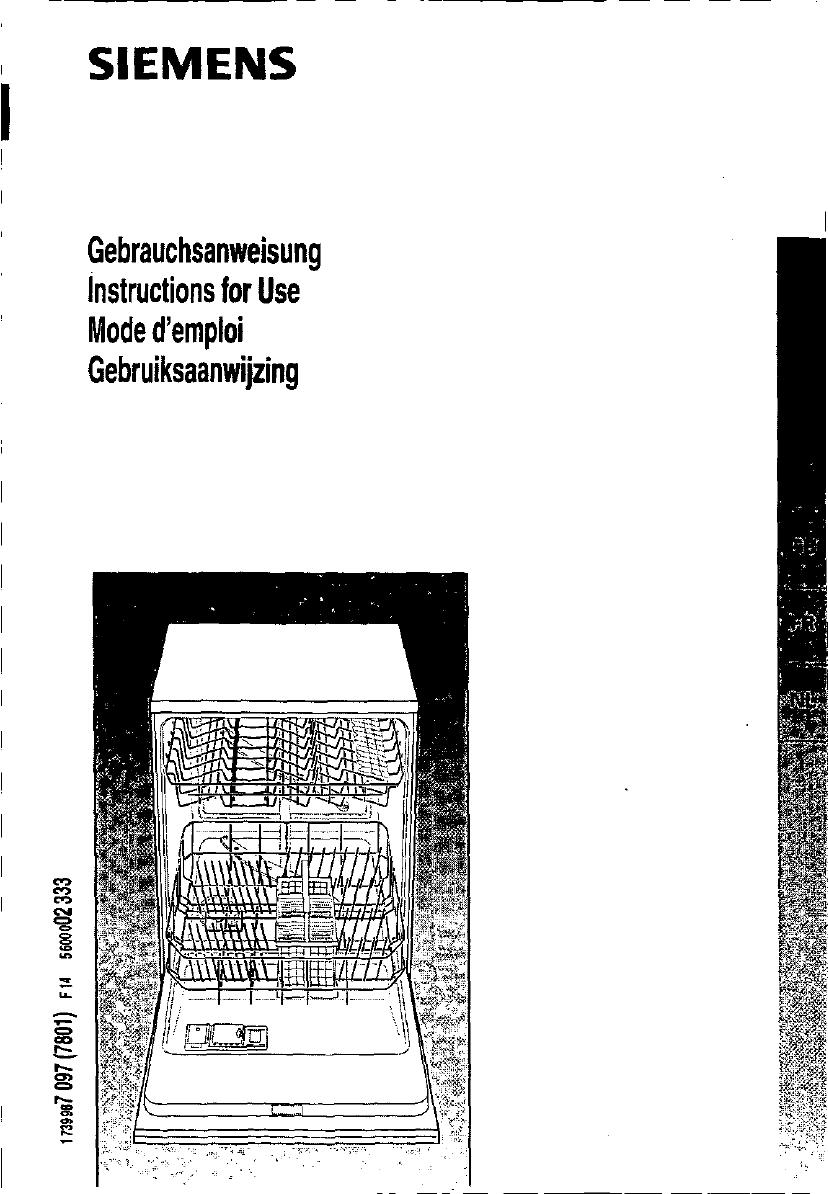 bedienungsanleitung siemens se54630 (seite 1 von 93  ~ Geschirrspülmaschine Englisch