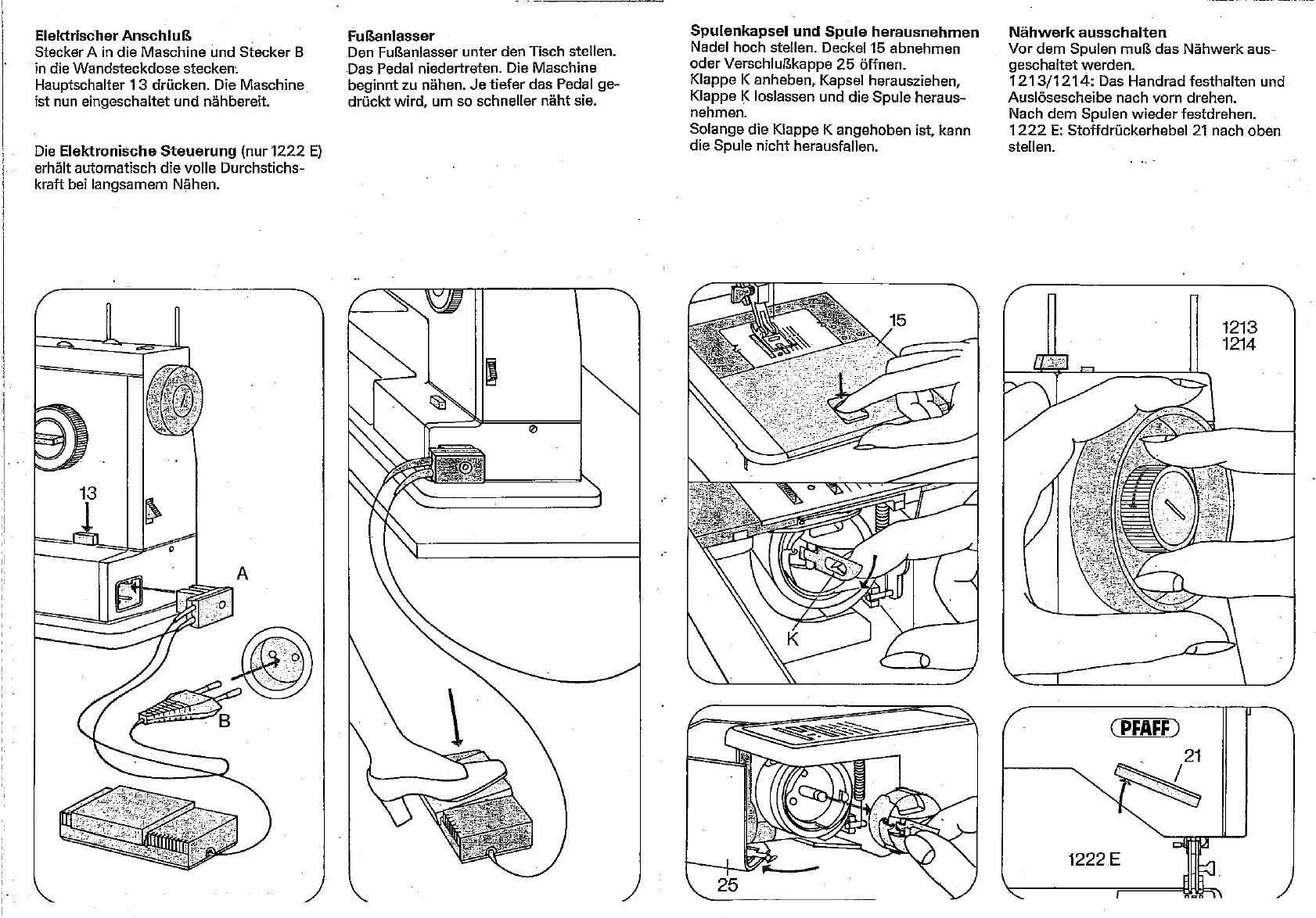 Bedienungsanleitung Pfaff 1222E (Seite 4 von 12) (Deutsch)