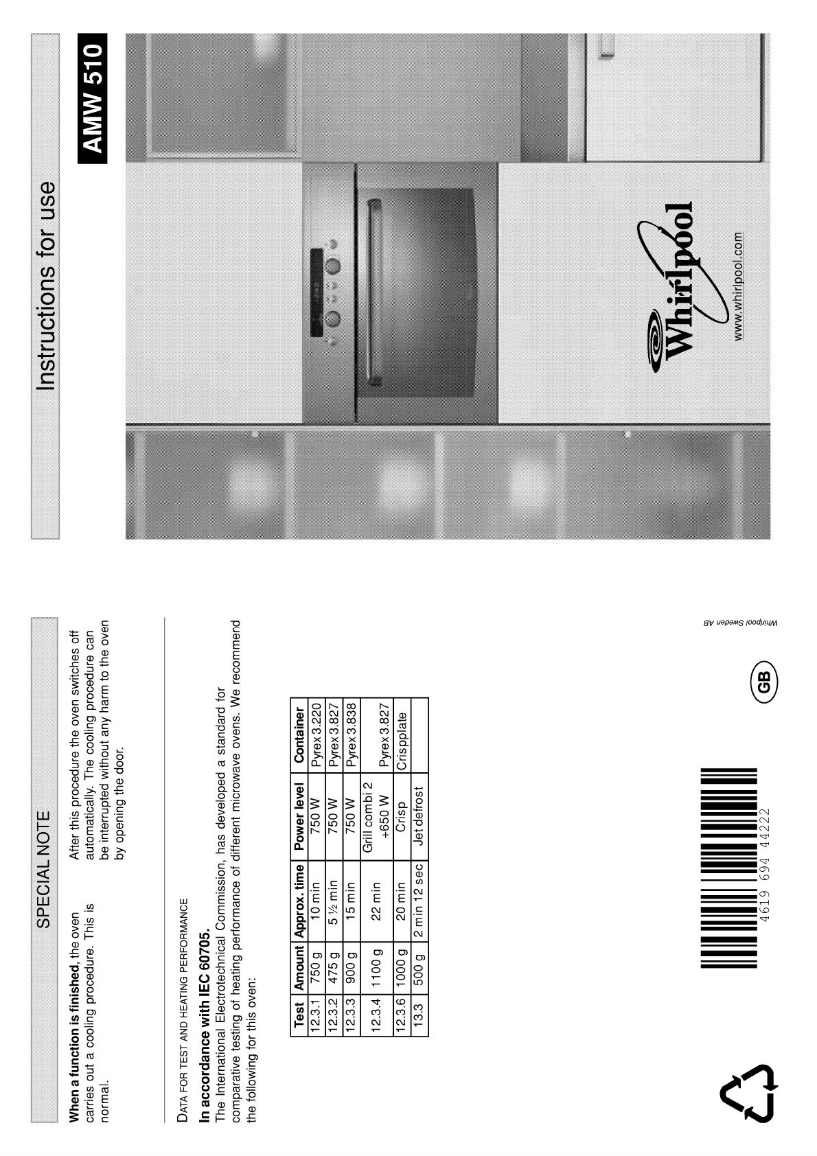 bedienungsanleitung whirlpool amw 510 wh seite 1 von 10 englisch. Black Bedroom Furniture Sets. Home Design Ideas