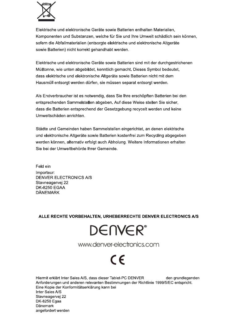 Bedienungsanleitung Denver TAD-90021 (Seite 14 von 14) (Deutsch)