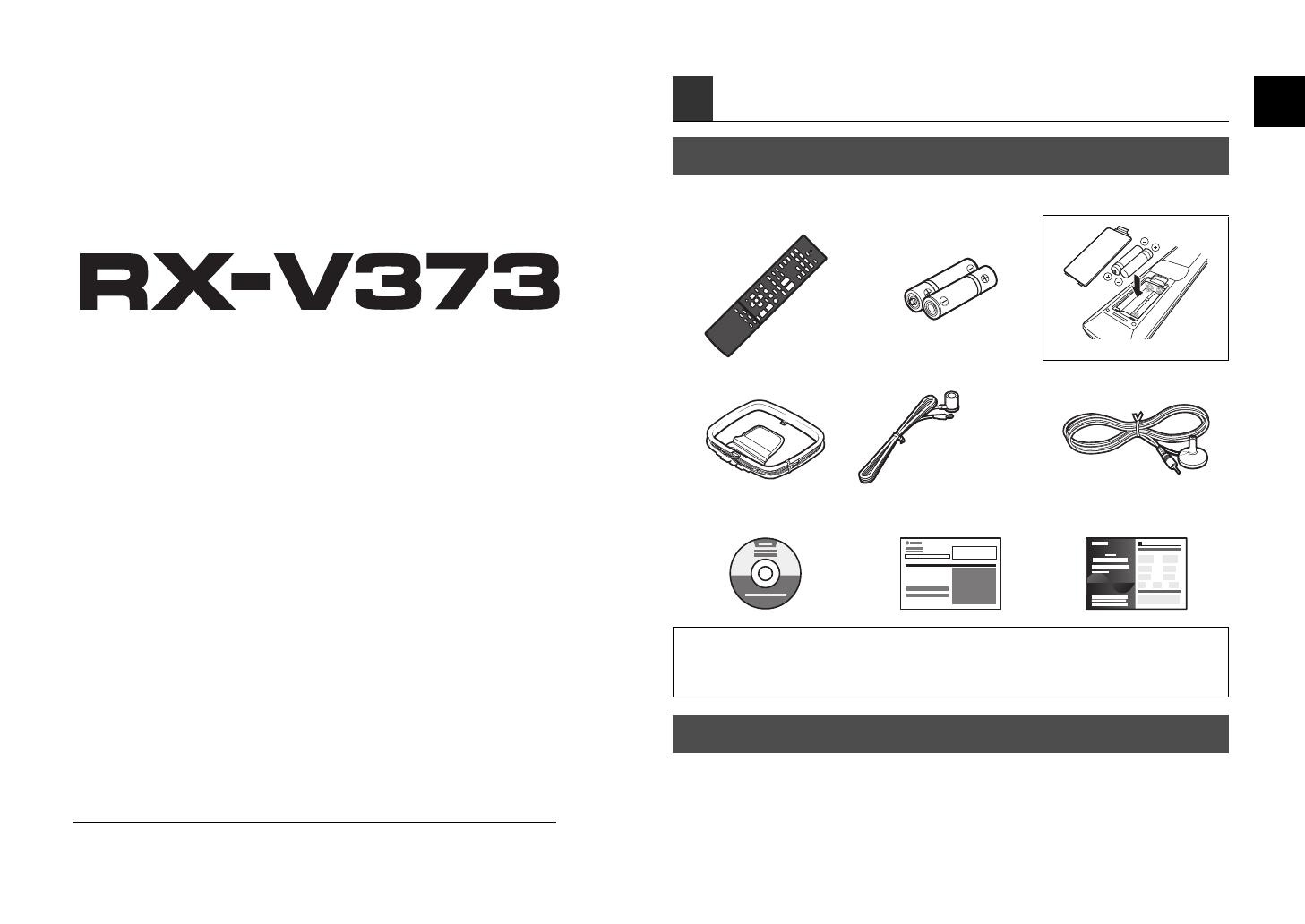 Bedienungsanleitung Yamaha RX-V373 (Seite 2 von 58) (Deutsch, Englisch,  Spanisch, Französisch, Italienisch, Holländisch, Schwedisch)