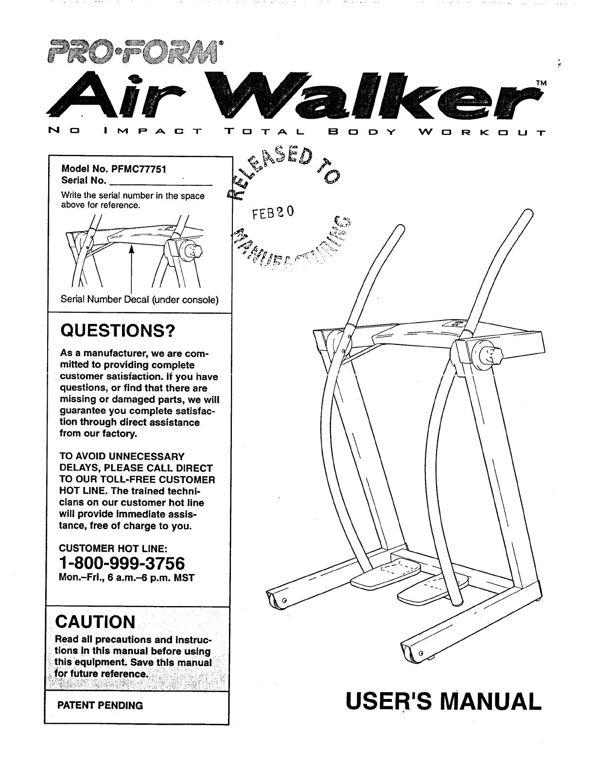 Bedienungsanleitung Pro Form Air Walker Pfmc7775 Seite 1 Von 12 Proform Treadmill Wiring Diagram