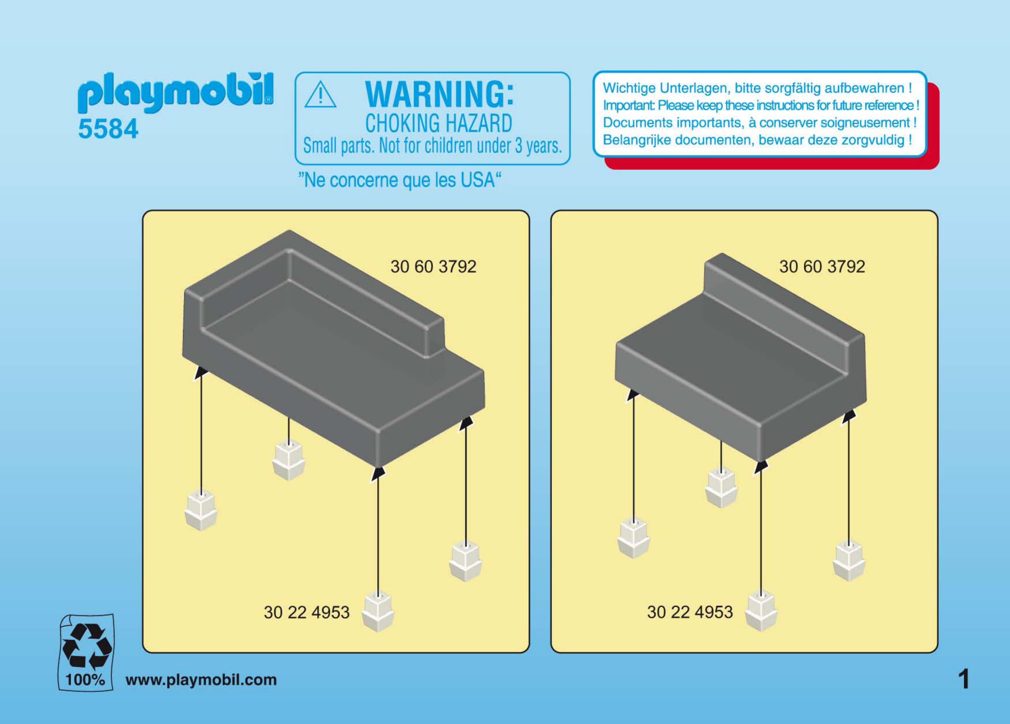 Bedienungsanleitung Playmobil 5584 Woonkamer (Seite 1 von 4) (Alle ...