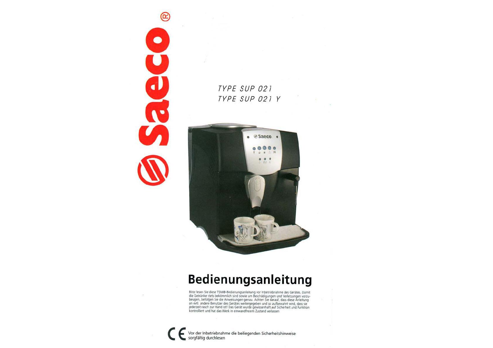 bedienungsanleitung saeco incanto sup021y seite 1 von 5. Black Bedroom Furniture Sets. Home Design Ideas
