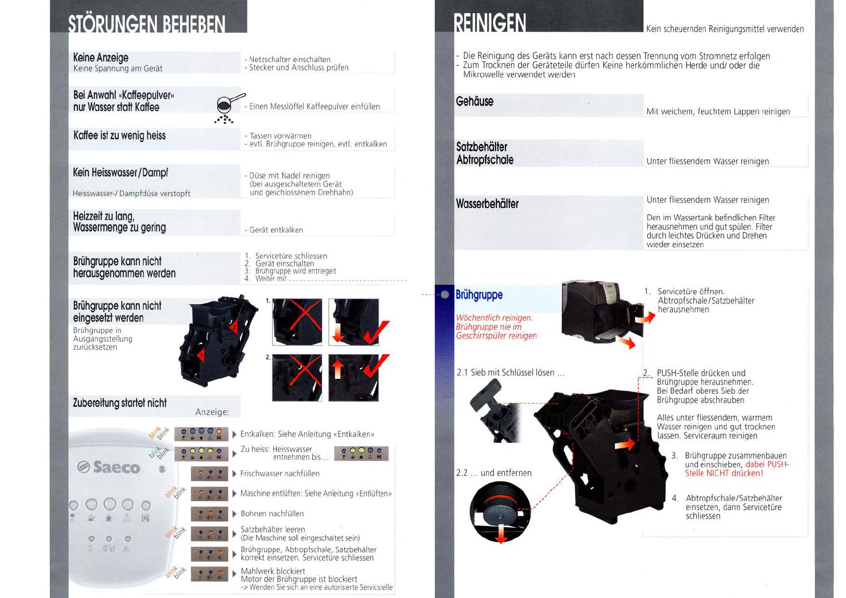 bedienungsanleitung saeco incanto sup021y seite 5 von 5 deutsch. Black Bedroom Furniture Sets. Home Design Ideas