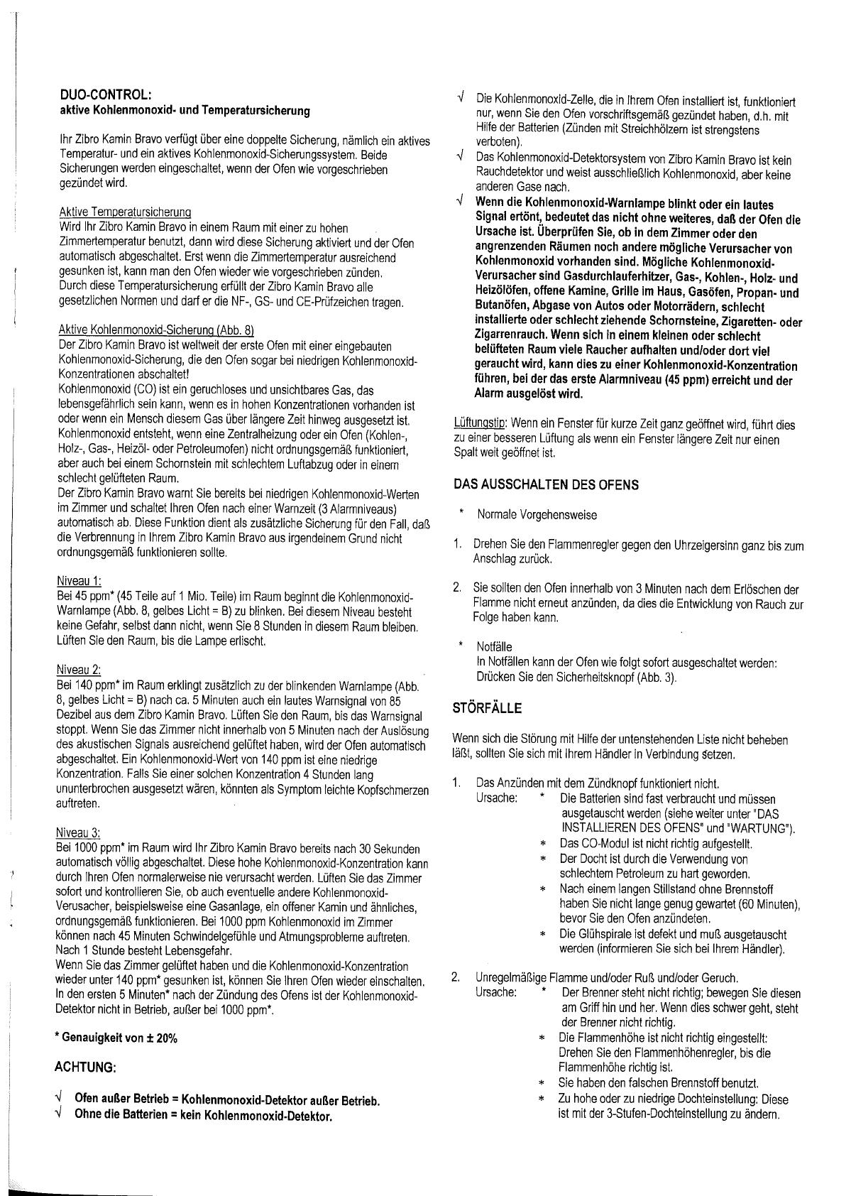 Bedienungsanleitung Zibro Bravo Seite 4 Von 8 Deutsch