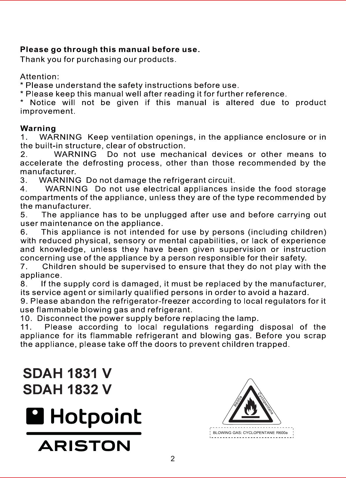 Bedienungsanleitung Hotpoint-Ariston SDAH 1831 V (Seite 42 von 147 ...