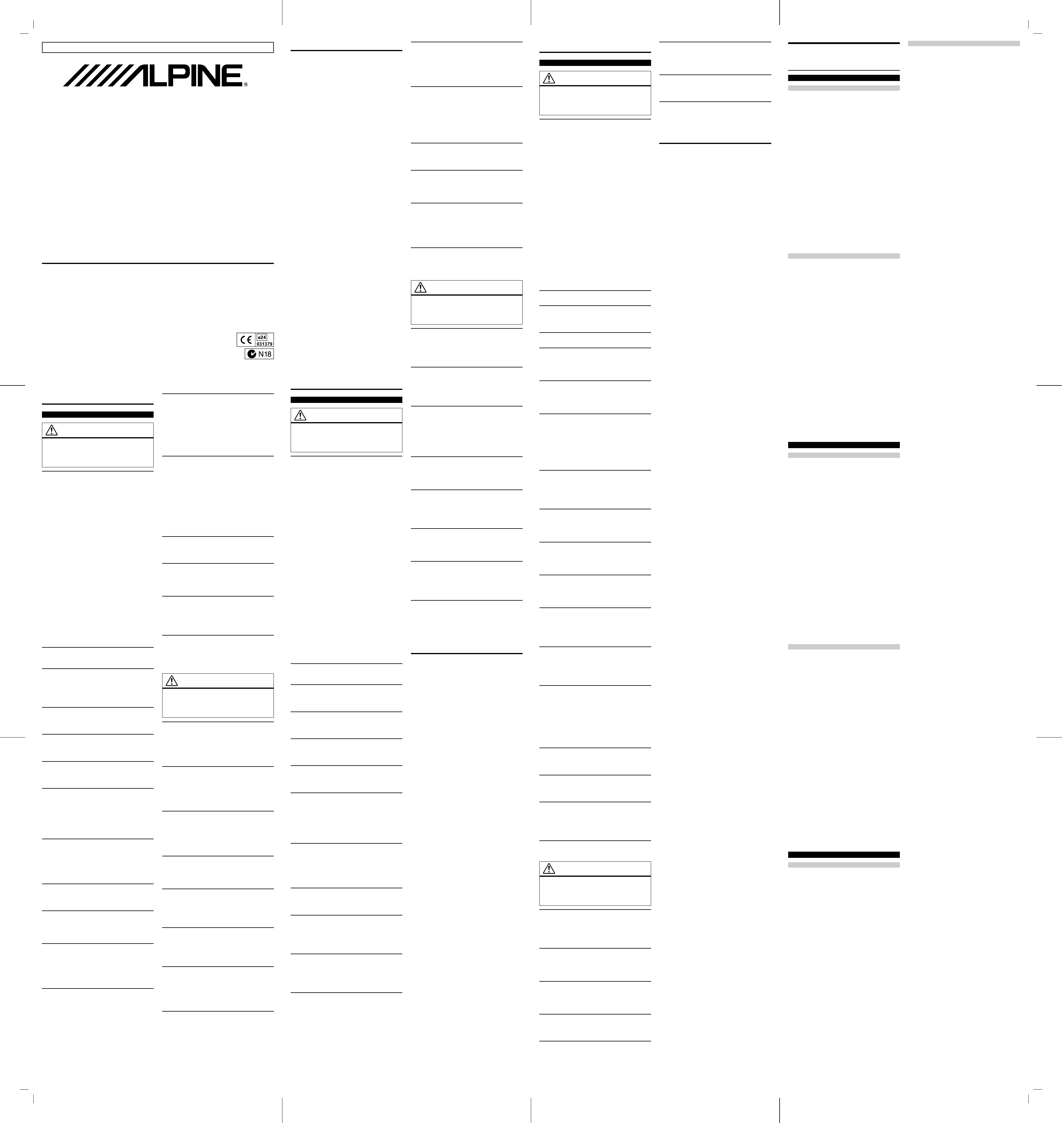 Be nungsanleitung Alpine HCE C212F Seite 1 von 2 Deutsch Italienisch