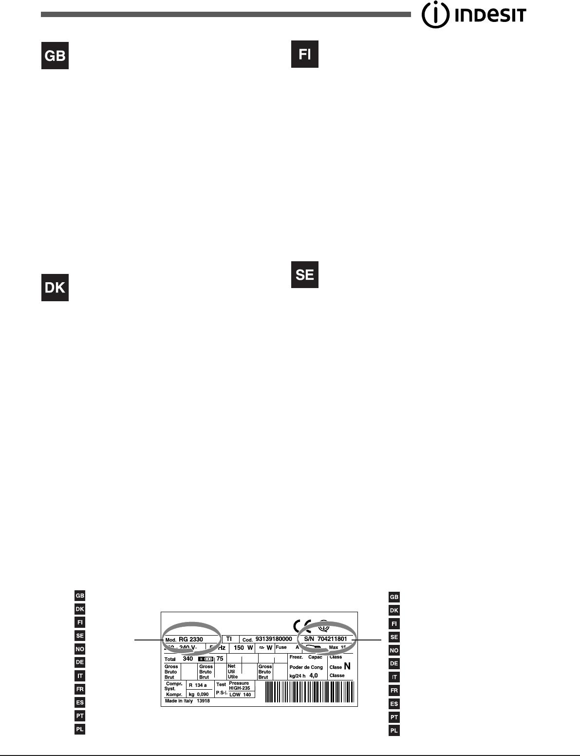 Bedienungsanleitung Indesit UIAA 12F (Seite 30 von 48) (Dänisch ...