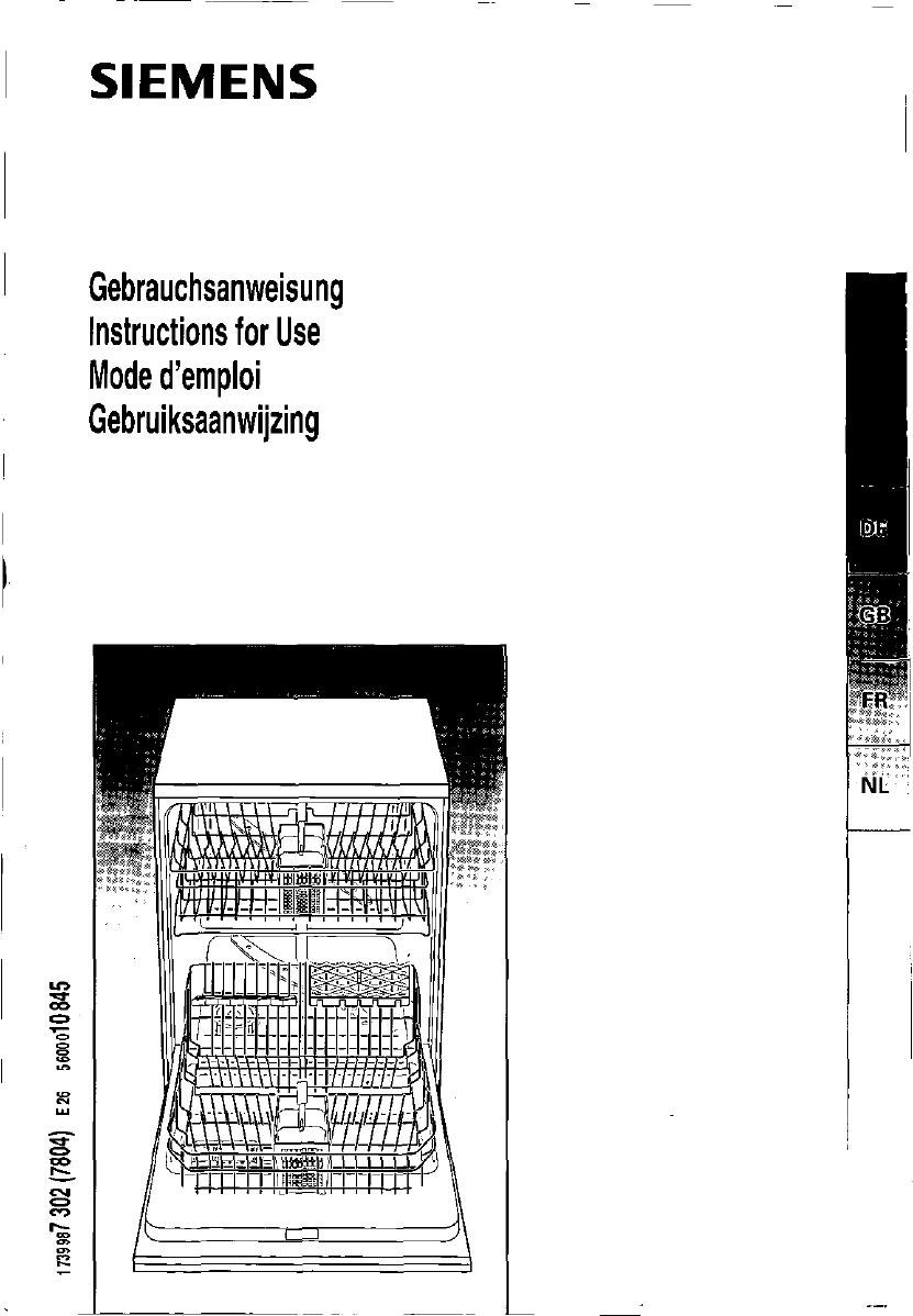 Bedienungsanleitung Siemens se 29290 (Seite 1 von 10 ~ Geschirrspülmaschine Siemens