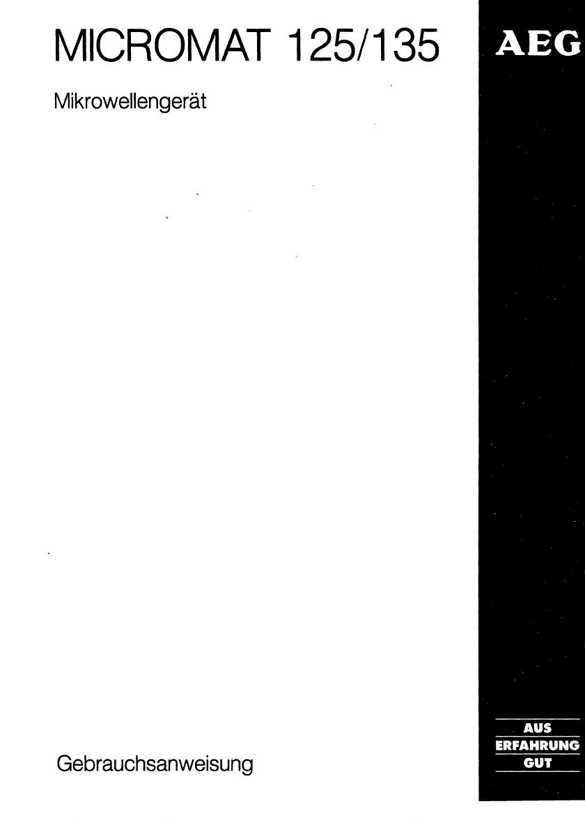 bedienungsanleitung aeg micromat 135 seite 1 von 36 deutsch. Black Bedroom Furniture Sets. Home Design Ideas