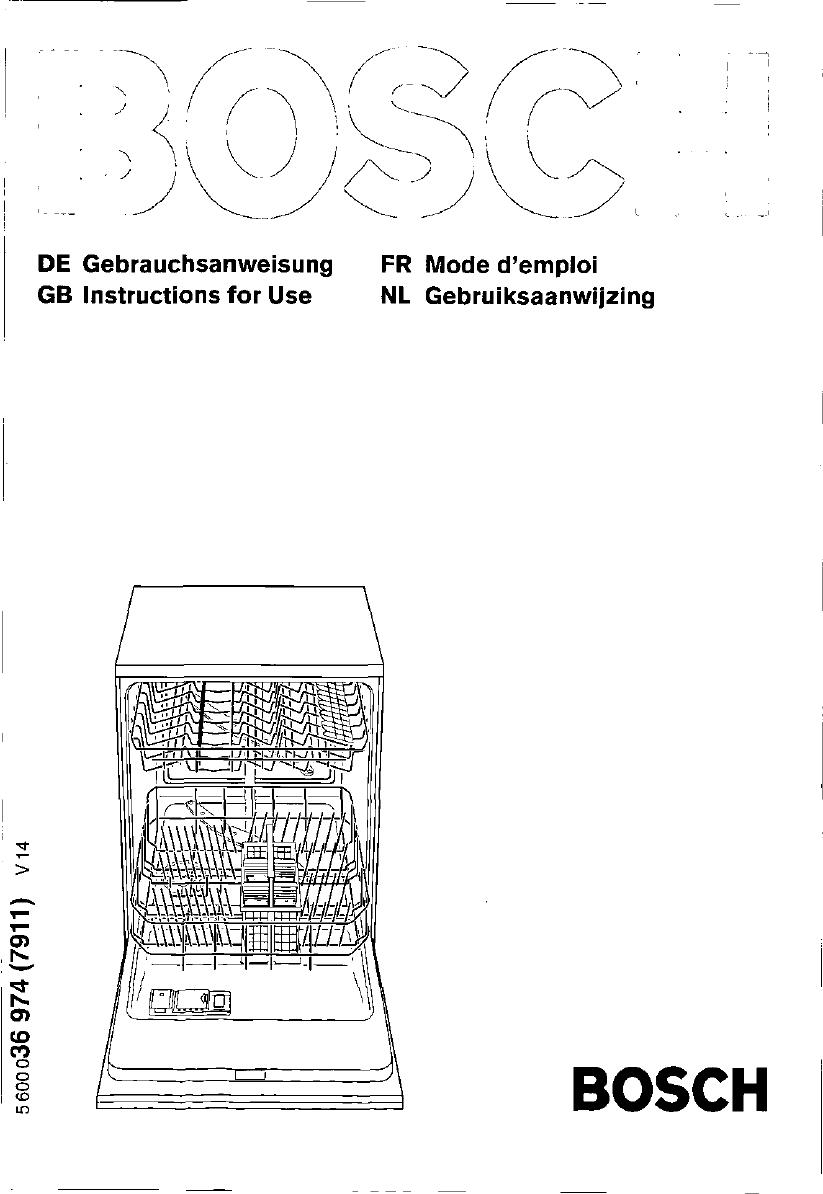 bedienungsanleitung bosch shv 4603 eu (seite 1 von 95  ~ Geschirrspülmaschine Englisch