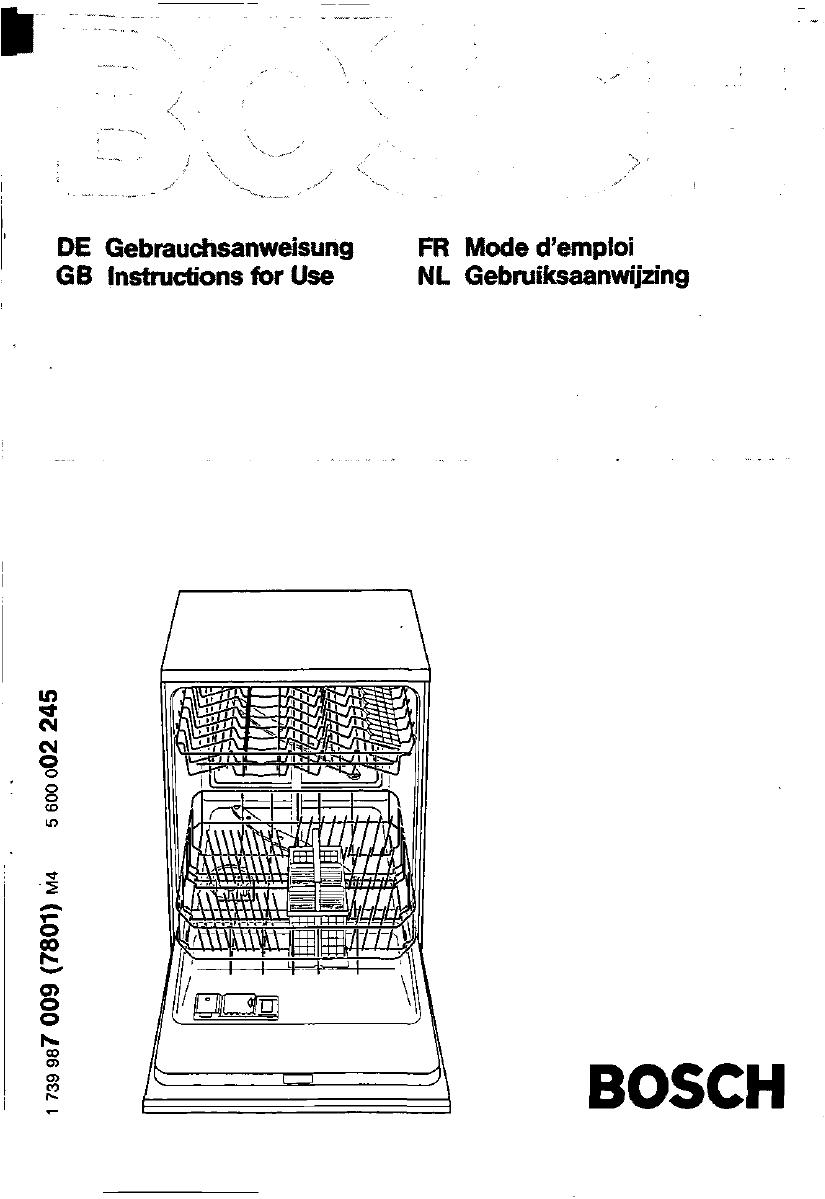 bedienungsanleitung bosch sgu 4005 eu (seite 1 von 89  ~ Geschirrspülmaschine Englisch